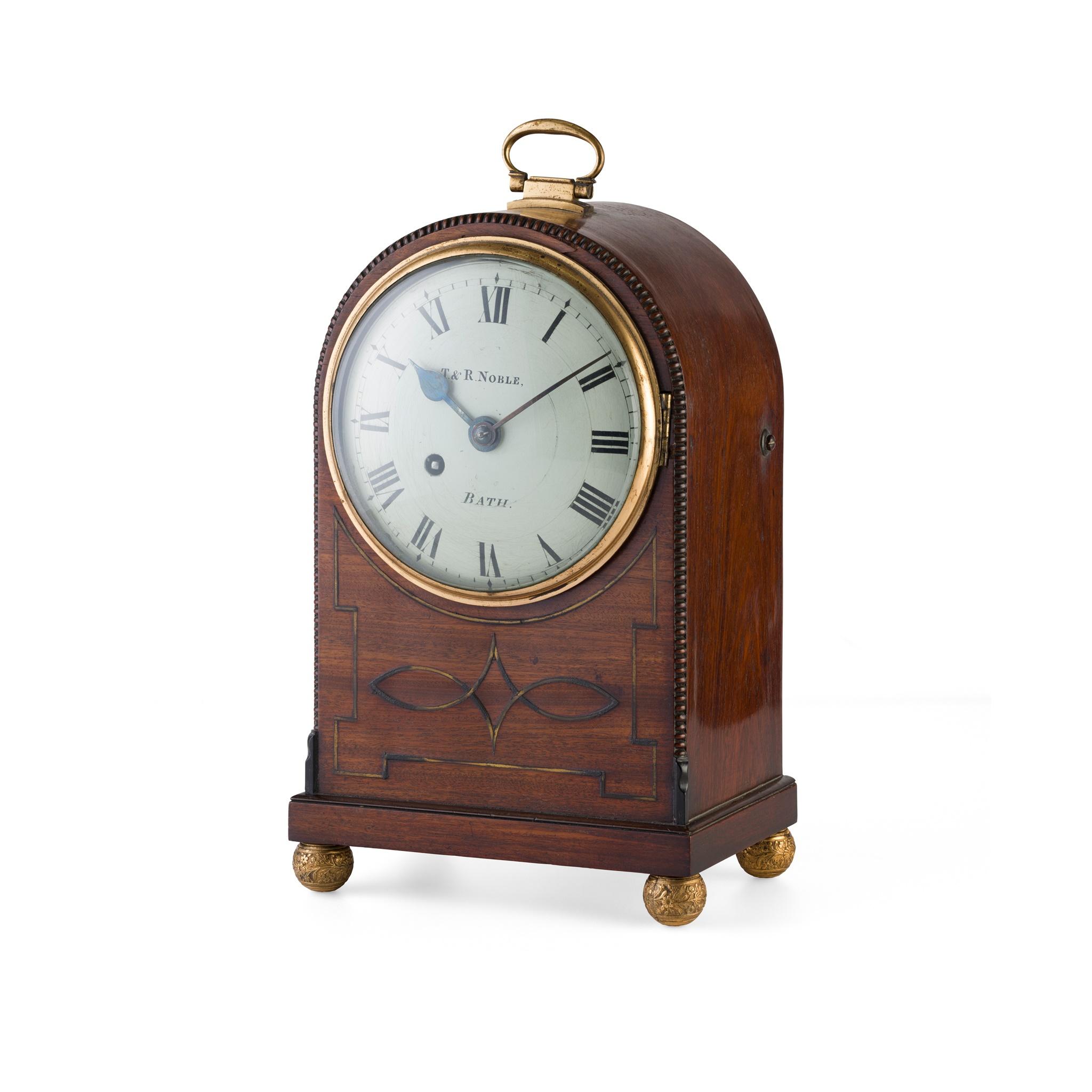 REGENCY MAHOGANY BRASS INLAID MANTLE CLOCK, T & R NOBLE, BATH EARLY 19TH CENTURY