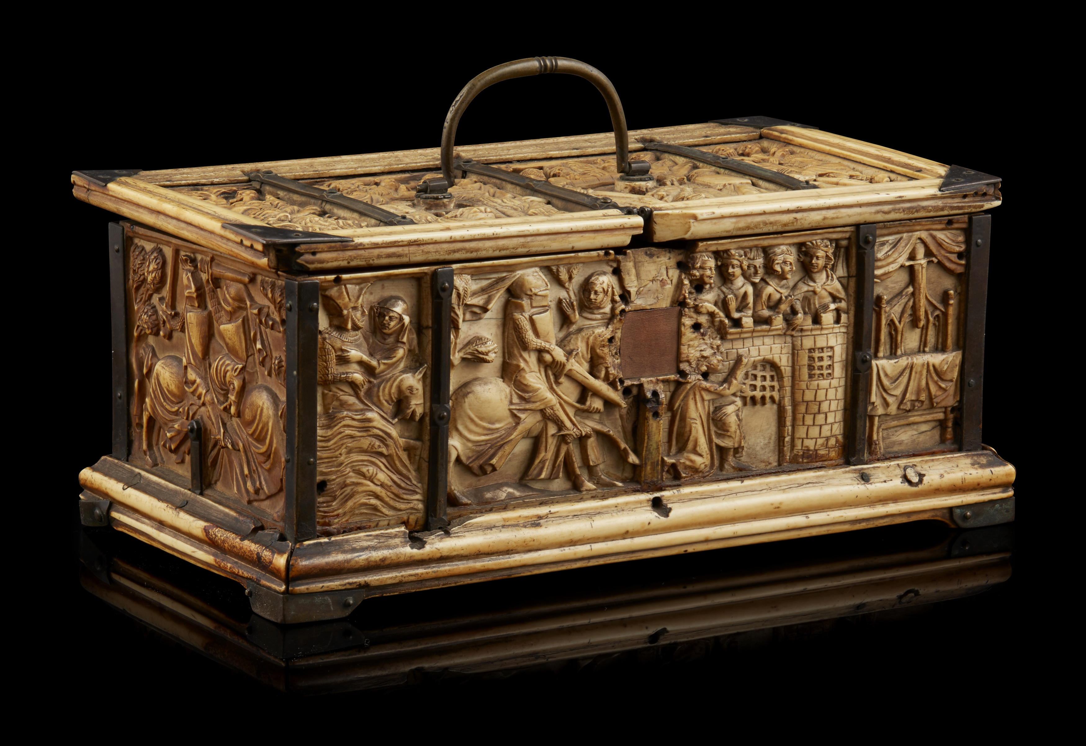 Y ◆ RARE AND IMPORTANT FRENCH GOTHIC IVORY COMPOSITE CASKET CIRCA 1330 - Image 8 of 8