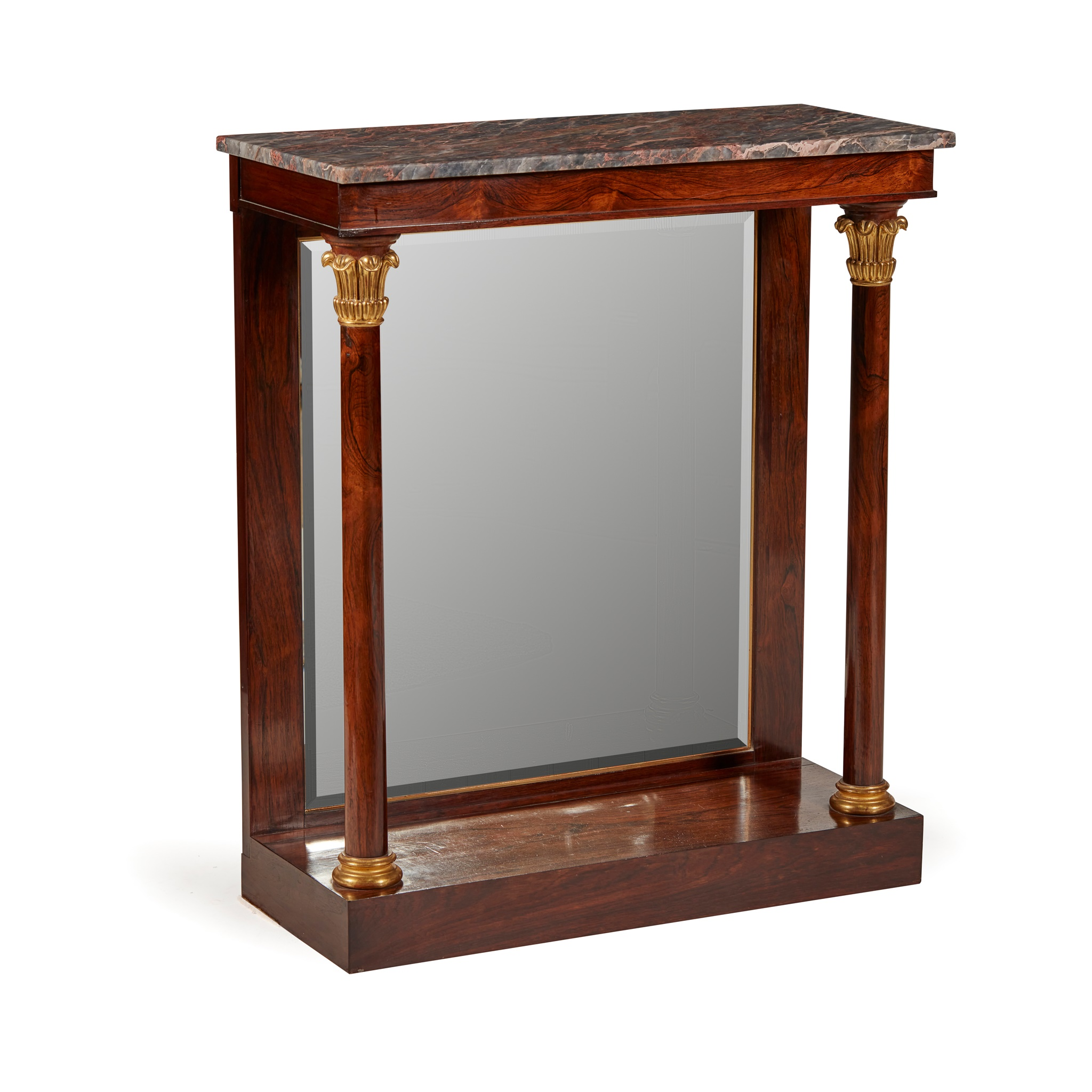 Y REGENCY ROSEWOOD AND PARCEL GILT CONSOLE TABLE EARLY 19TH CENTURY