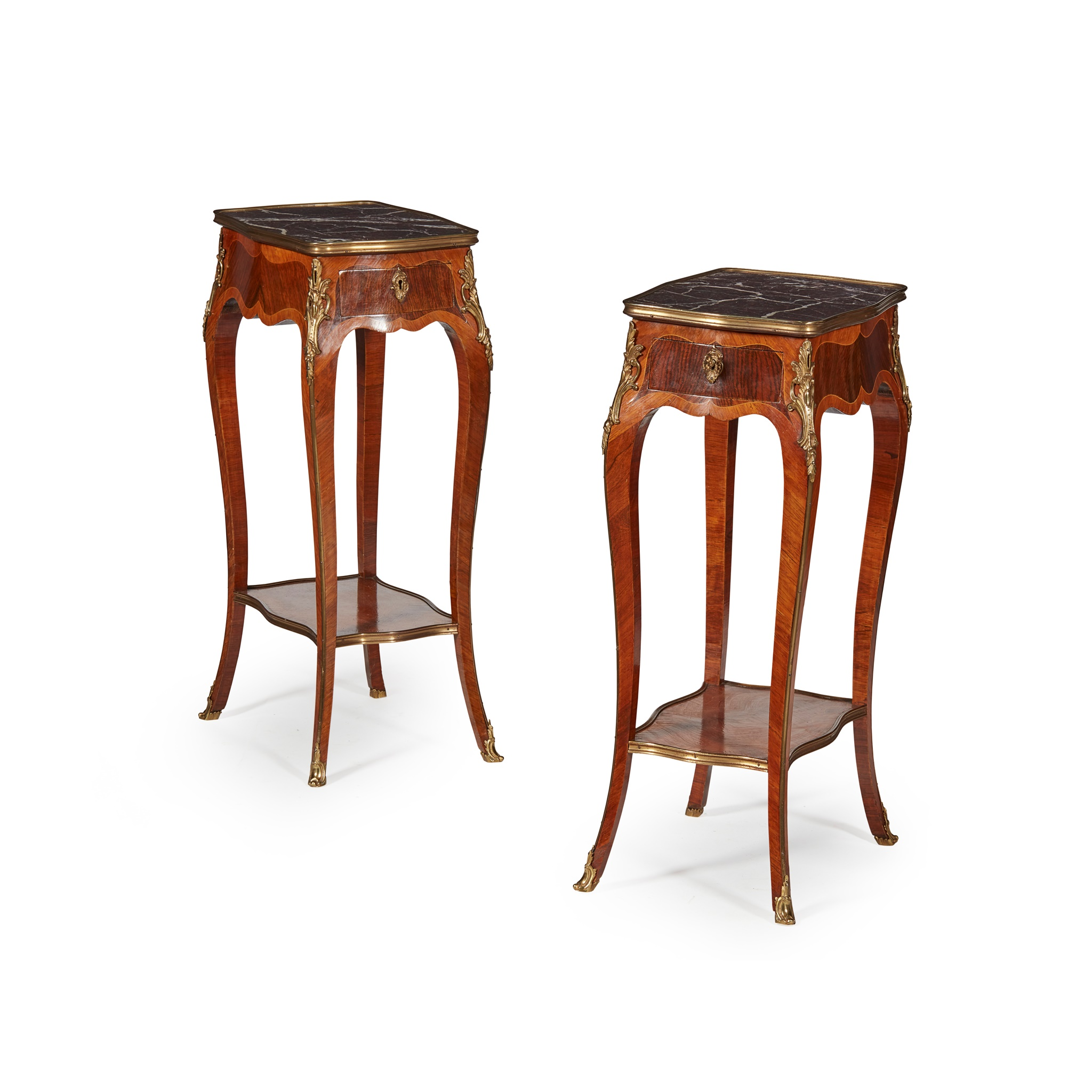 PAIR OF LOUIS XV STYLE KINGWOOD AND AMARANTH MARBLE TOPPED SIDE TABLES LATE 19TH CENTURY