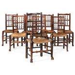 ASSEMBLED SET OF SEVEN SPINDLE BACK CHAIRS EARLY 19TH CENTURY