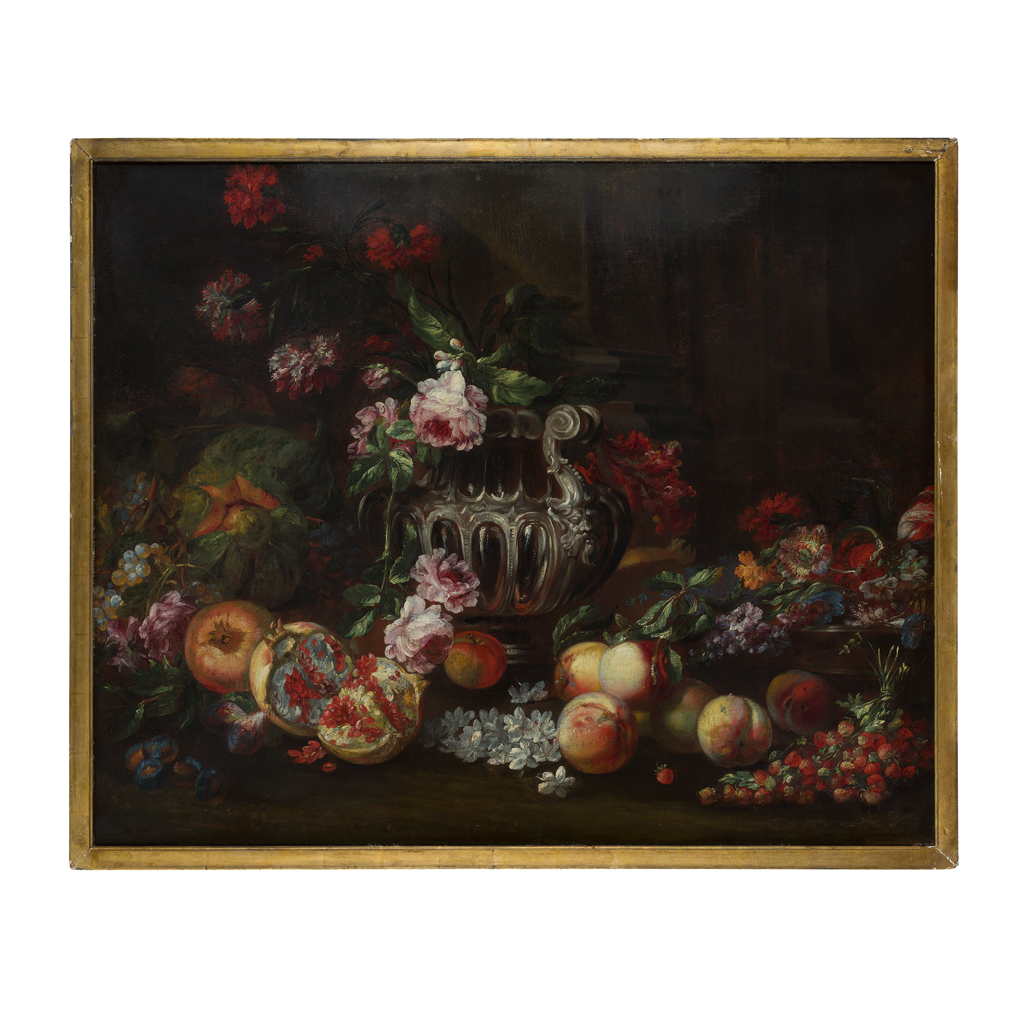 FOLLOWER OF MICHELANGELO DI CAMPIDOGLIO A STILL LIFE OF ASSORTED FRUIT AND FLOWERS WITH SILVER URN - Image 2 of 2