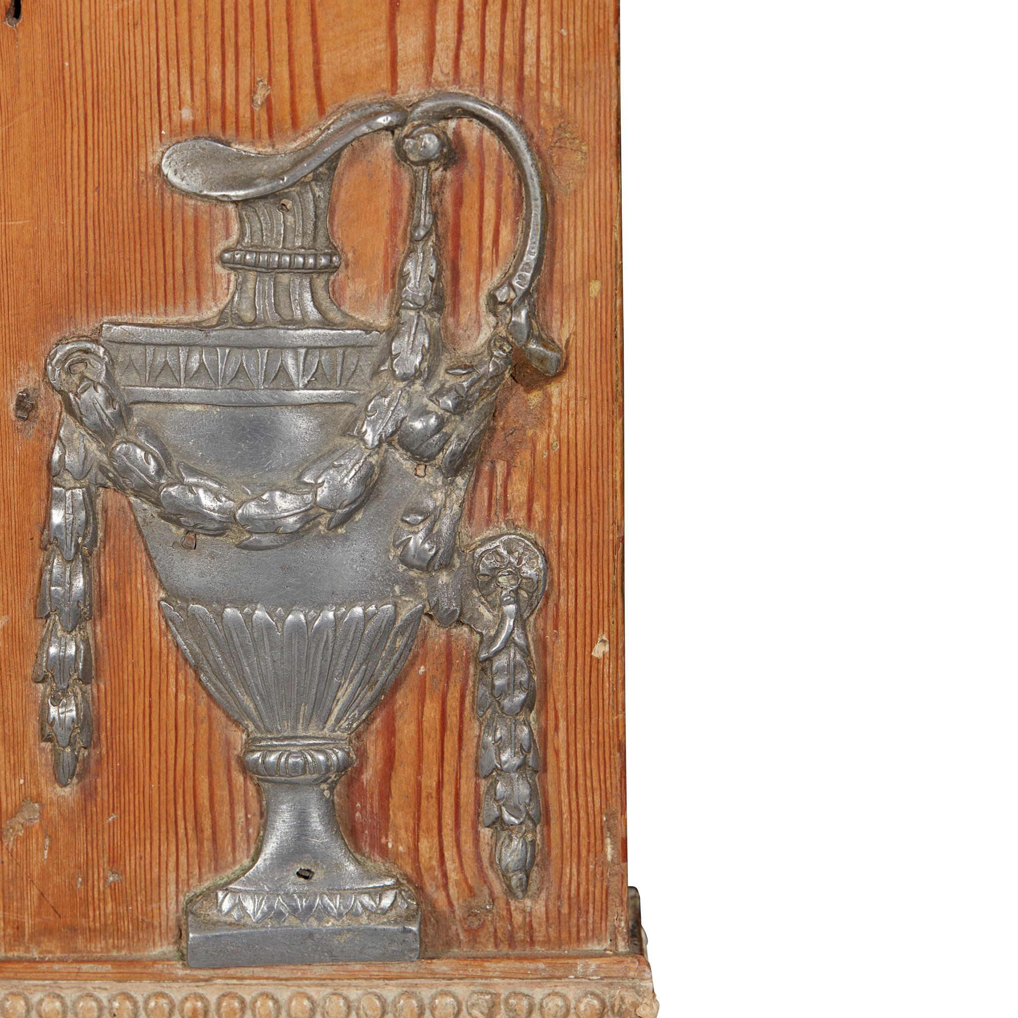 RARE GEORGE III PEWTER AND GESSO MOUNTED FIRE SURROUND 18TH CENTURY - Image 3 of 7