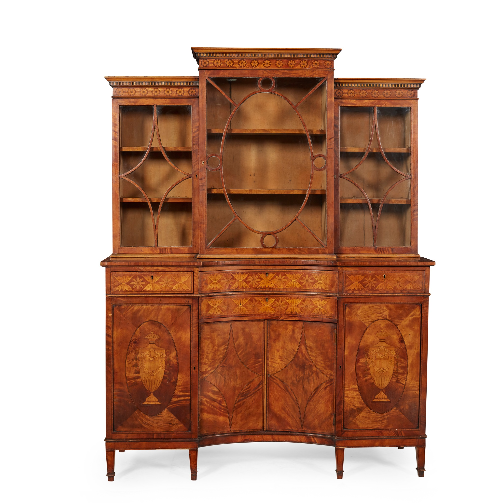 LATE GEORGE III SATINWOOD AND INLAID BOOKCASE, IN THE MANNER OF WILLIAM MOORE OF DUBLIN LATE 18TH