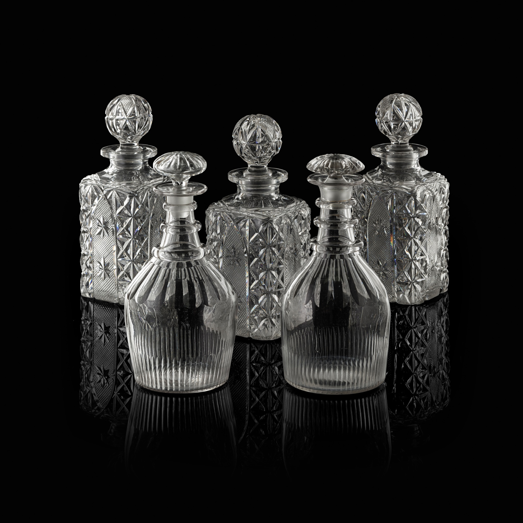 SET OF THREE CUT GLASS SQUARE DECANTERS 19TH CENTURY