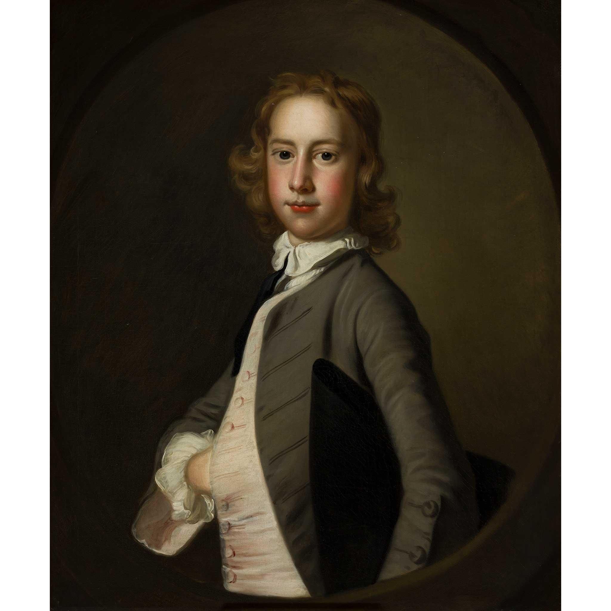 THOMAS HUDSON (BRITISH 1701-1779) HALF LENGTH PORTRAIT OF HENRY COURTHOPE CAMPION OF DANNY B.1734