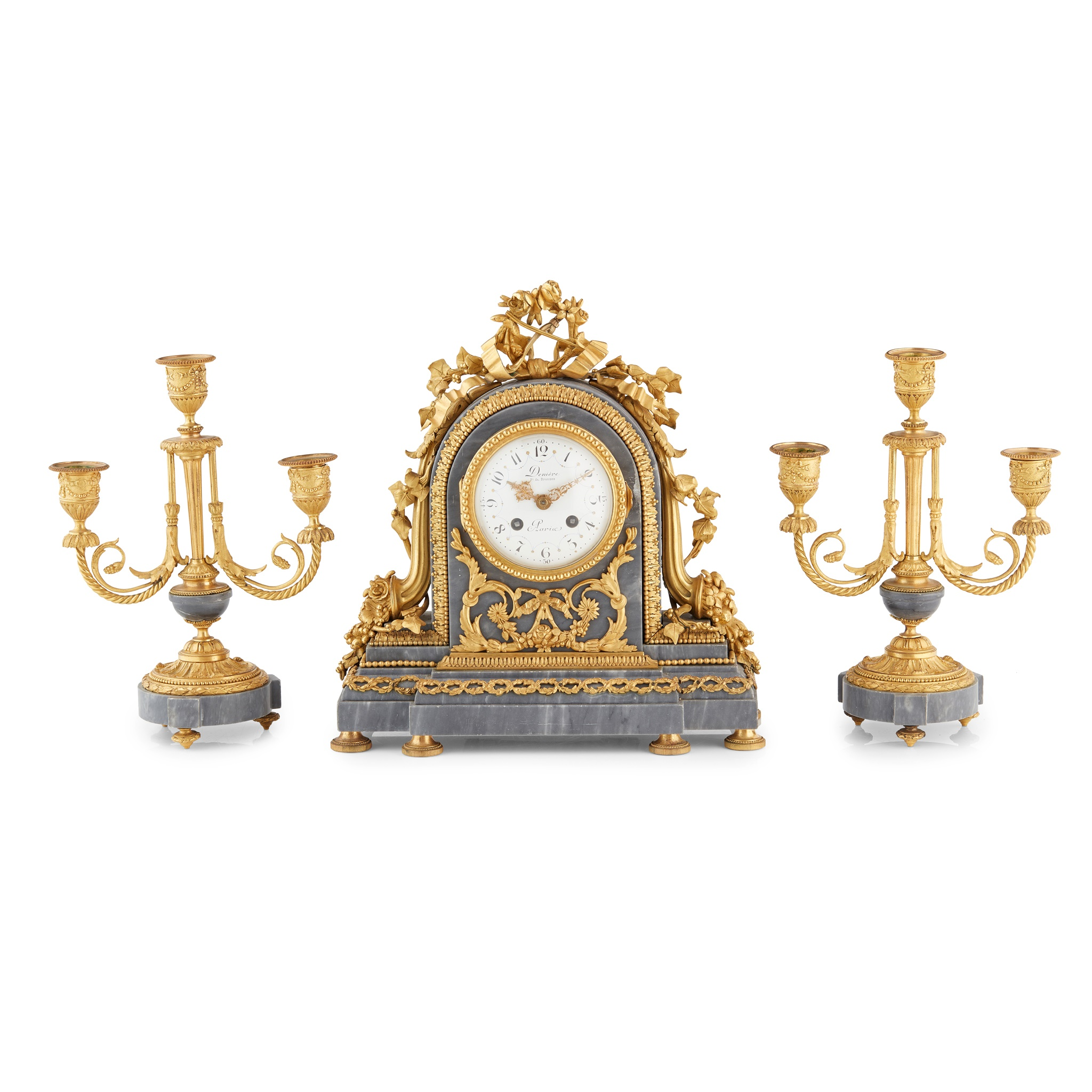 FRENCH GILT BRONZE AND BLUE TURQUIN MARBLE CLOCK GARNITURE 19TH CENTURY