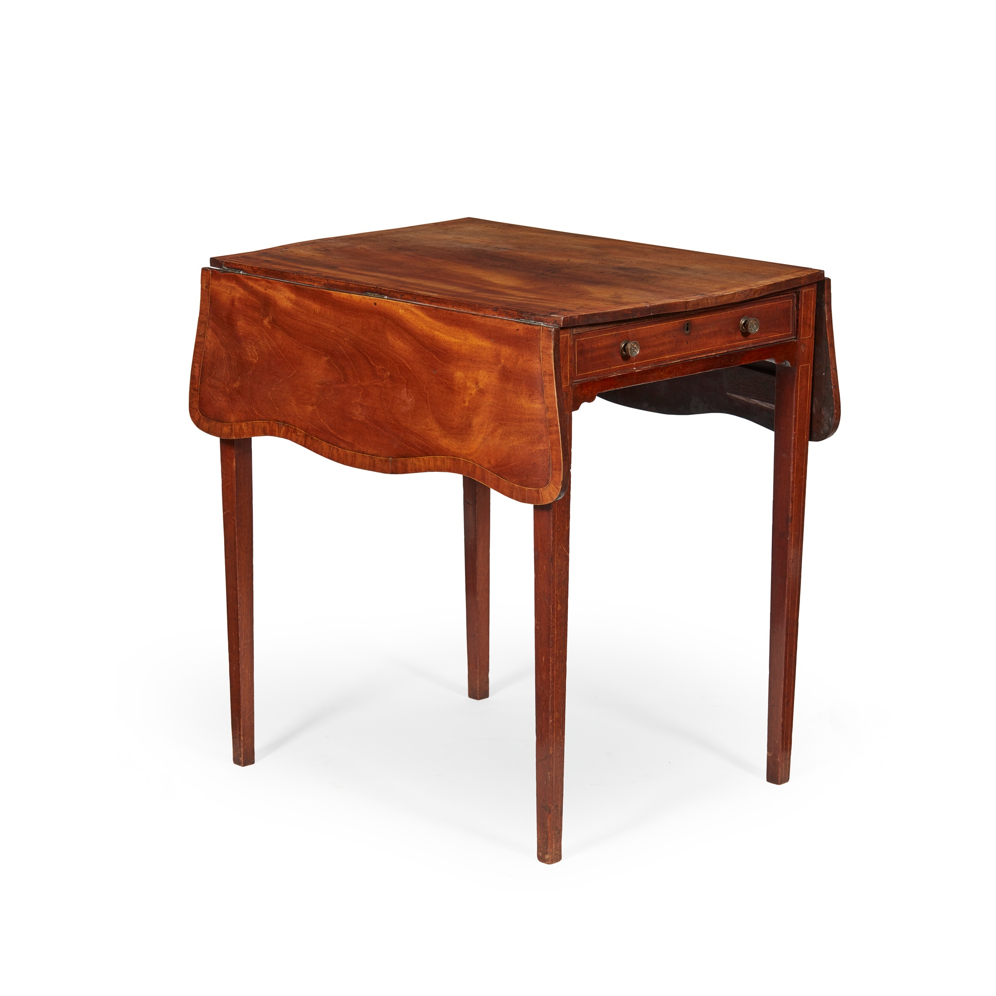 GEORGE II MAHOGANY AND SATINWOOD PEMBROKE TABLE LATE 18TH CENTURY