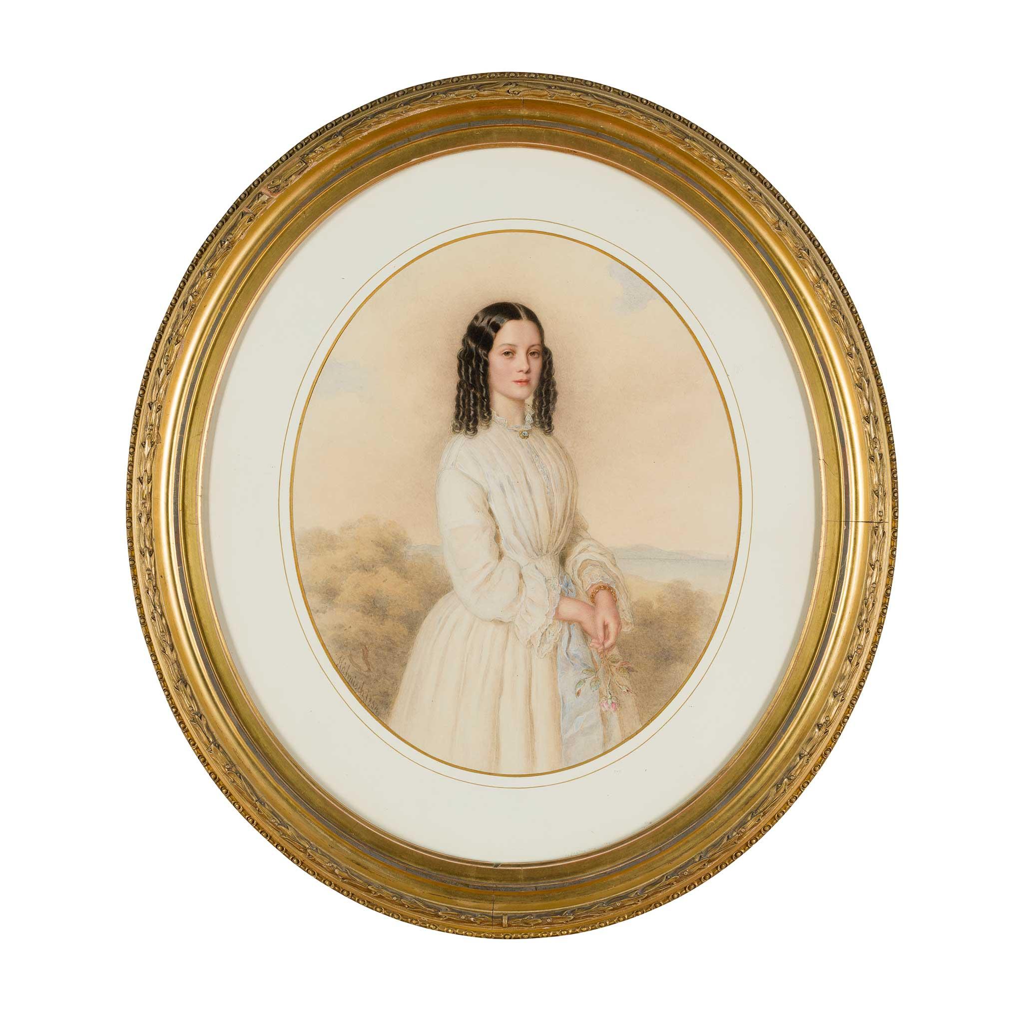 ANTON HÄHNISCH (AUSTRIAN 1817-1897) THREE QUARTER LENGTH PORTRAIT OF A YOUNG LADY HOLDING A ROSE - Image 3 of 4