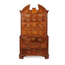 GEORGE I WALNUT, CROSSBANDED, AND INLAID CHEST-ON-CHEST EARLY 18TH CENTURY
