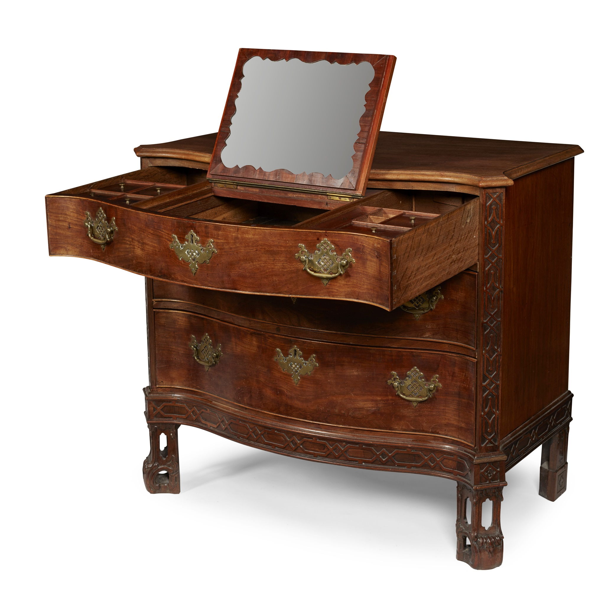 GEORGE III SERPENTINE CHEST OF DRAWERS MID 18TH CENTURY AND LATER - Image 6 of 6