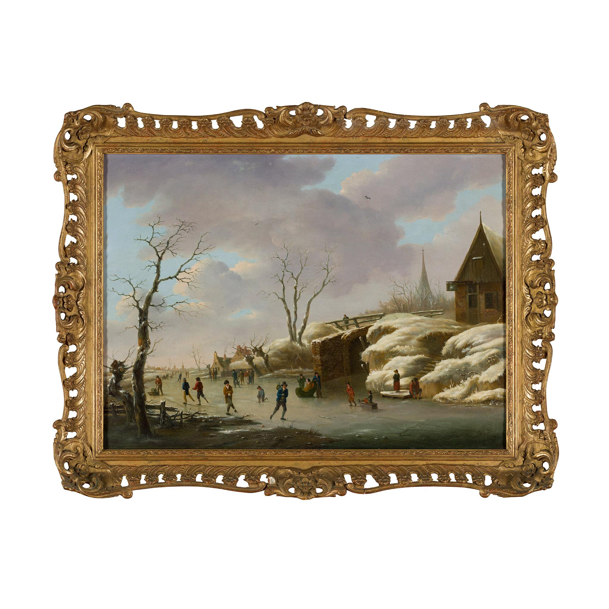 HERMANUS DONSELAER (BELGIAN 1761-1829) A WINTER LANDSCAPE WITH FIGURES SKATING - Image 2 of 2