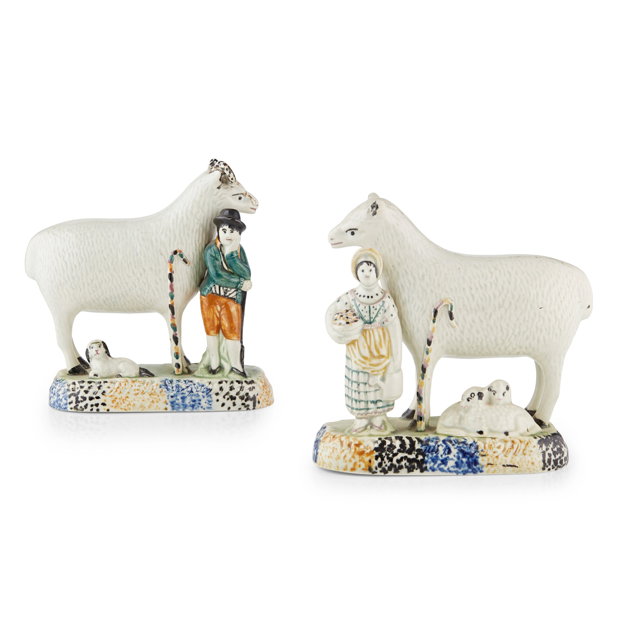PAIR OF YORKSHIRE PEARLWARE FIGURES OF A RAM AND A SHEEP CIRCA 1820