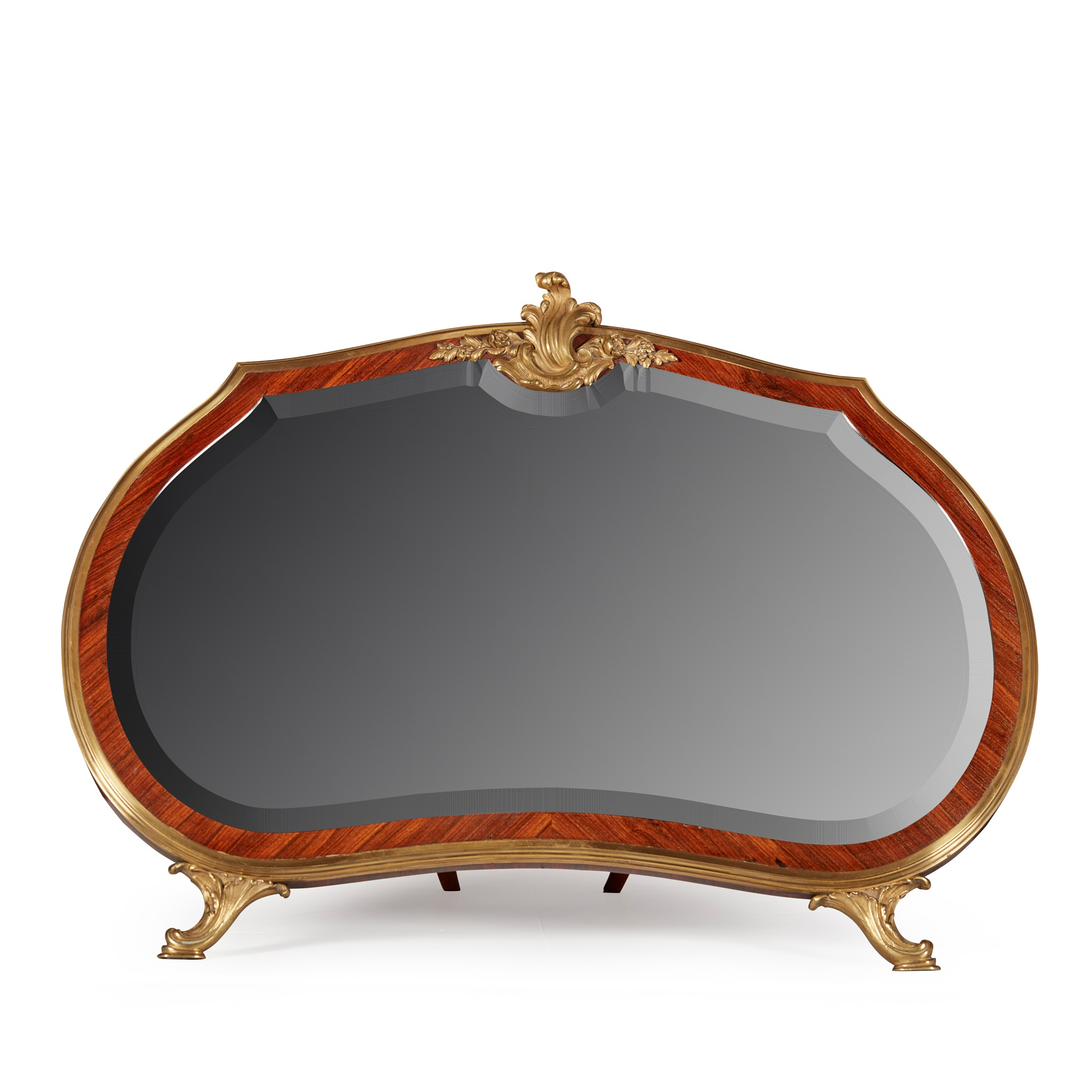 LOUIS XV STYLE KINGWOOD AND ORMOLU EASEL TABLE MIRROR LATE 19TH CENTURY