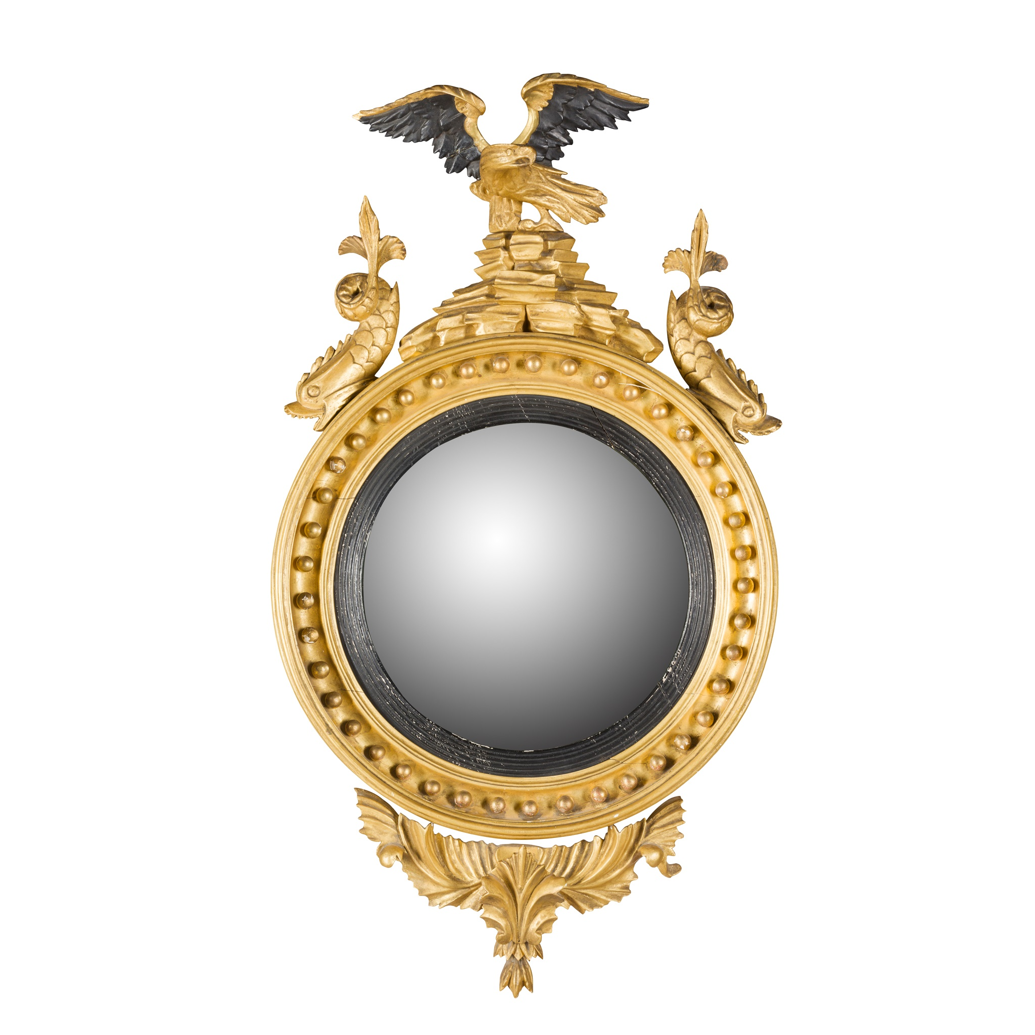 REGENCY GILTWOOD AND EBONISED CONVEX MIRROR EARLY 19TH CENTURY