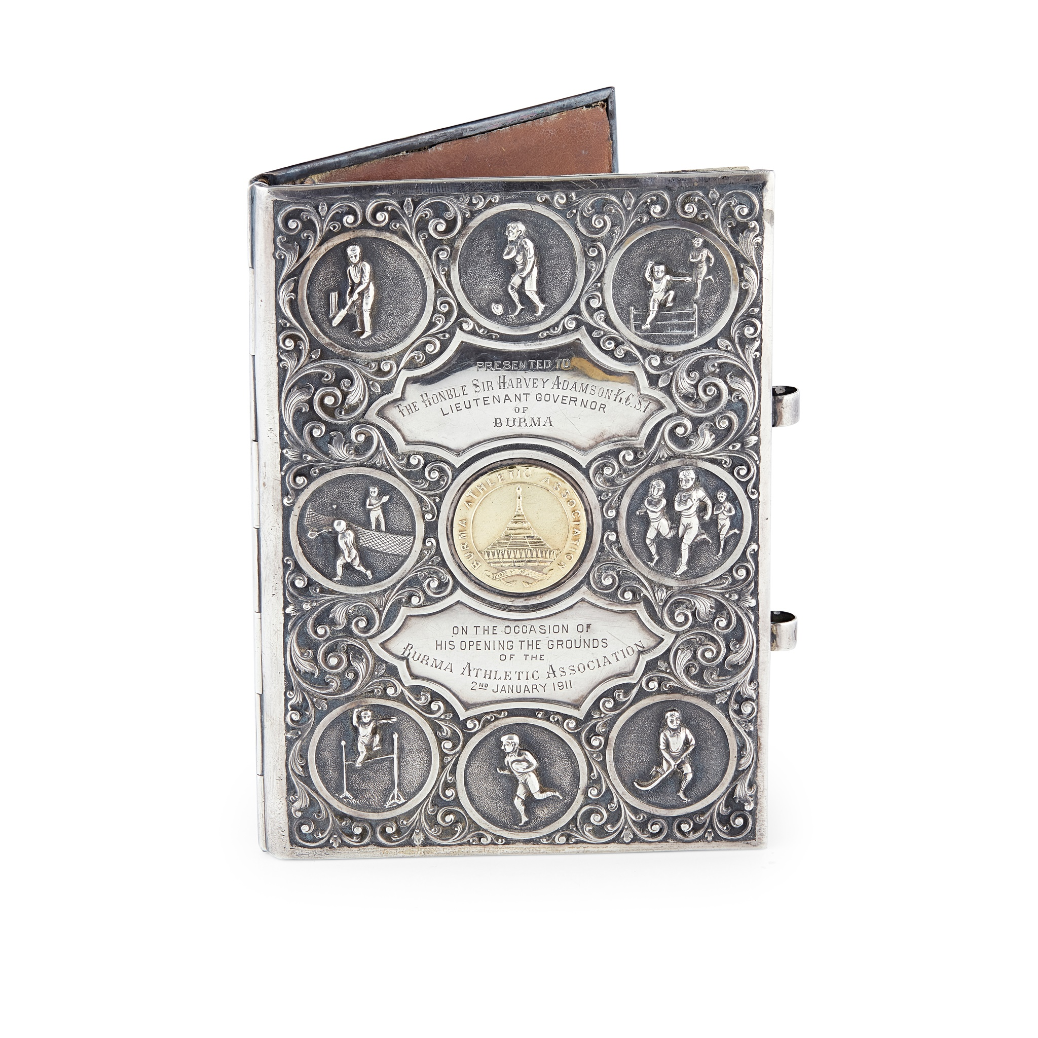 BURMESE SILVER AND SILVER GILT NOTEBOOK COVER, RELATING TO THE BURMA ATHLETIC ASSOCIATION DATED - Image 2 of 2