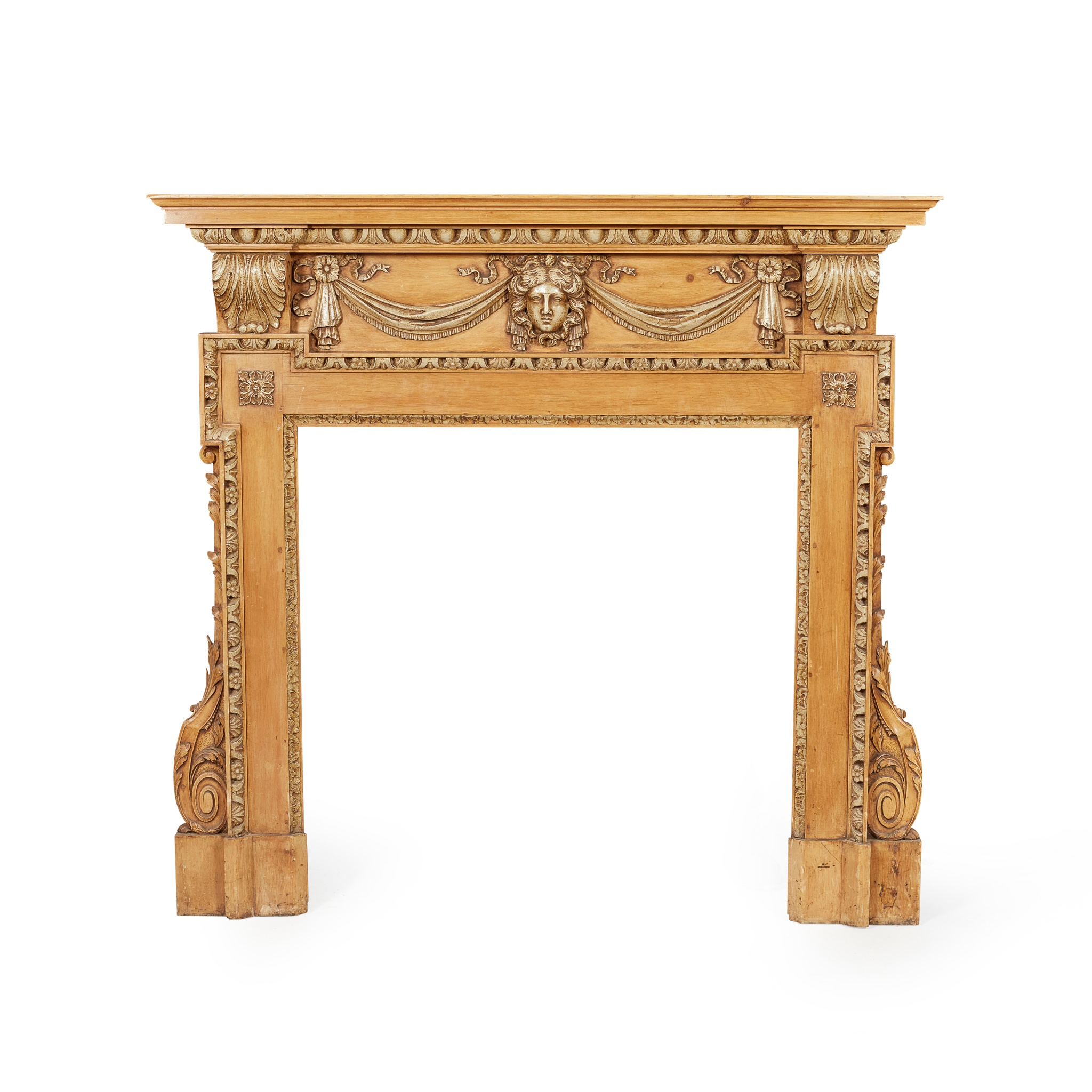 GEORGE II STYLE CARVED AND PAINTED PINE FIRE SURROUND LATE 19TH CENTURY