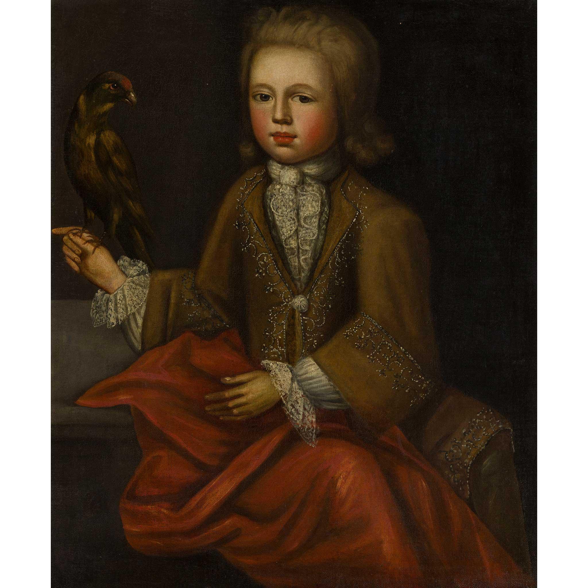 18TH CENTURY ENGLISH SCHOOL HALF LENGTH PORTRAIT OF A BOY WITH A BIRD