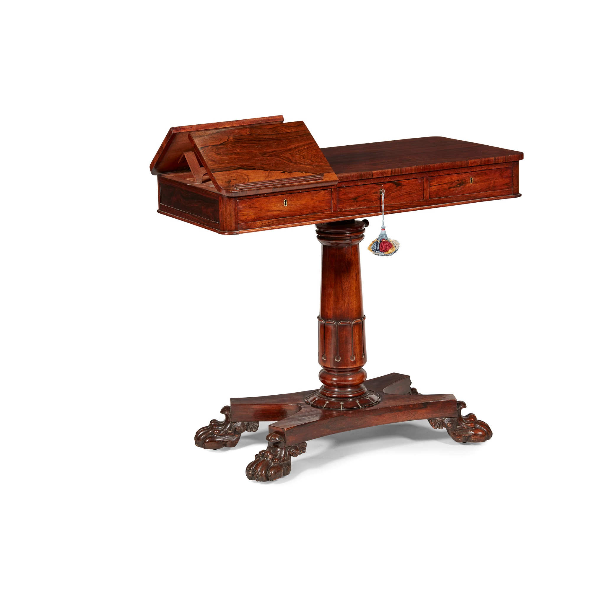 Y GEORGE IV ROSEWOOD READING TABLE EARLY 19TH CENTURY