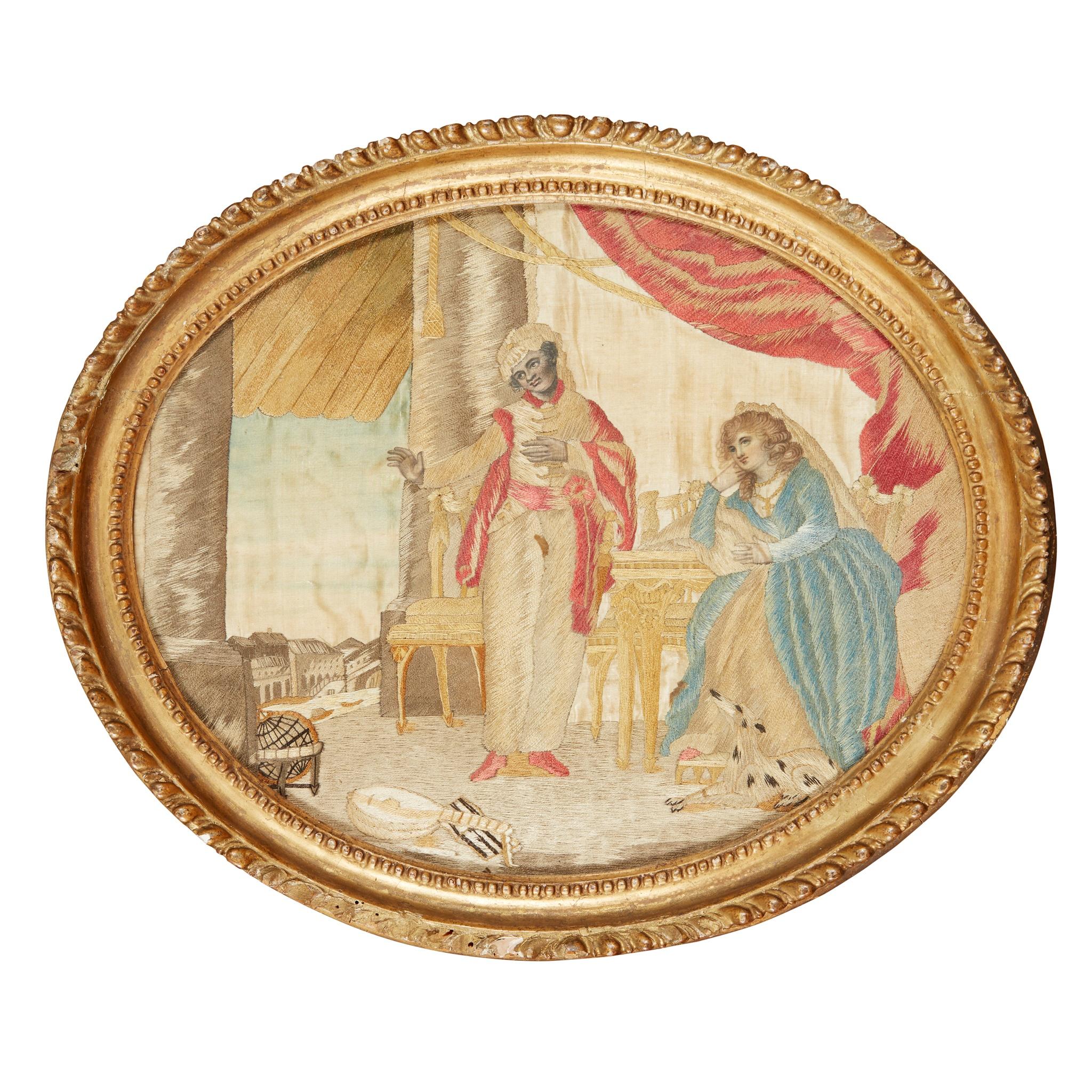 GEORGIAN NEEDLEWORK PANEL DEPICTING OTHELLO AND DESDEMONA LATE 18TH CENTURY