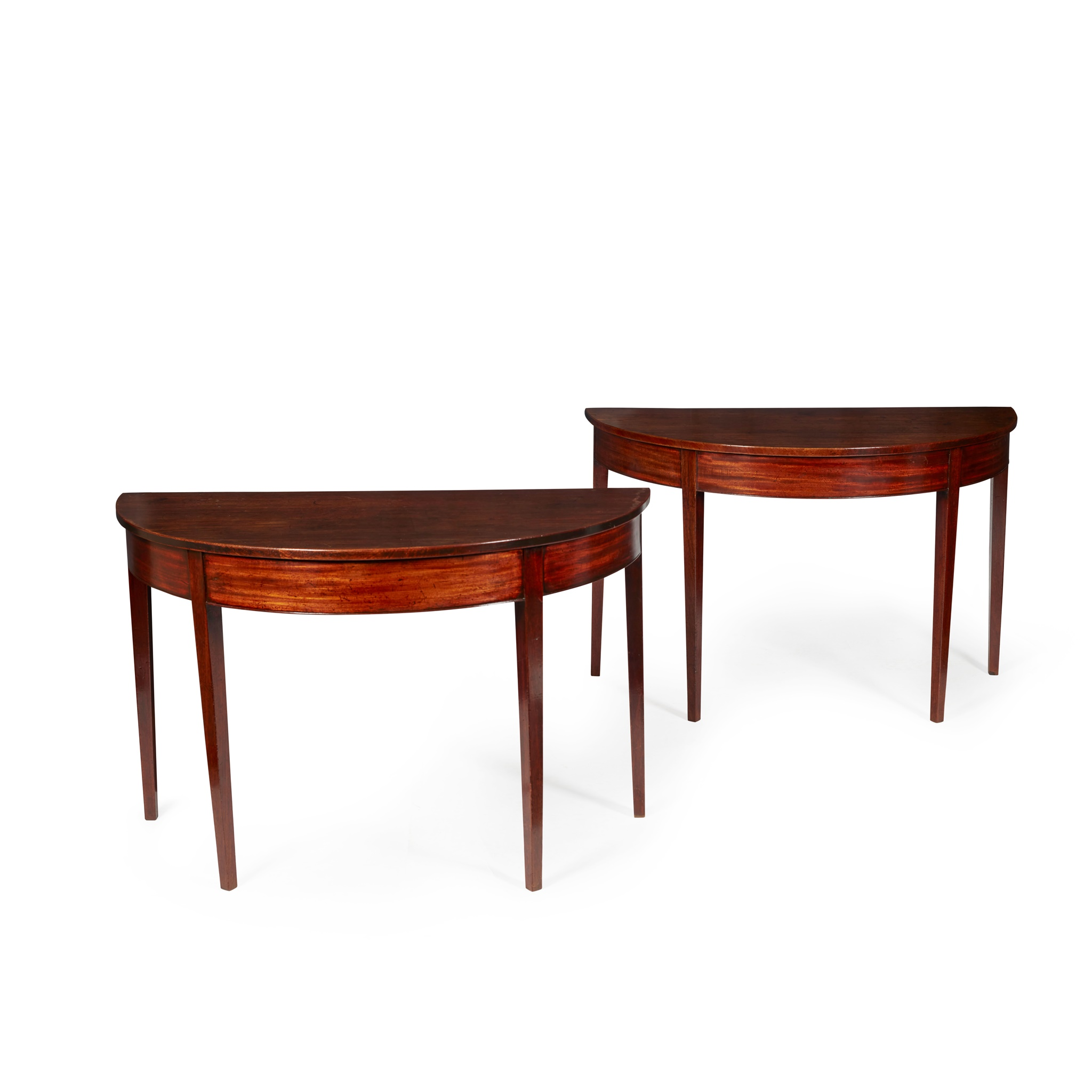 PAIR OF GEORGE III MAHOGANY DEMI-LUNE SIDE TABLES LATE 18TH CENTURY/ EARLY 19TH CENTURY