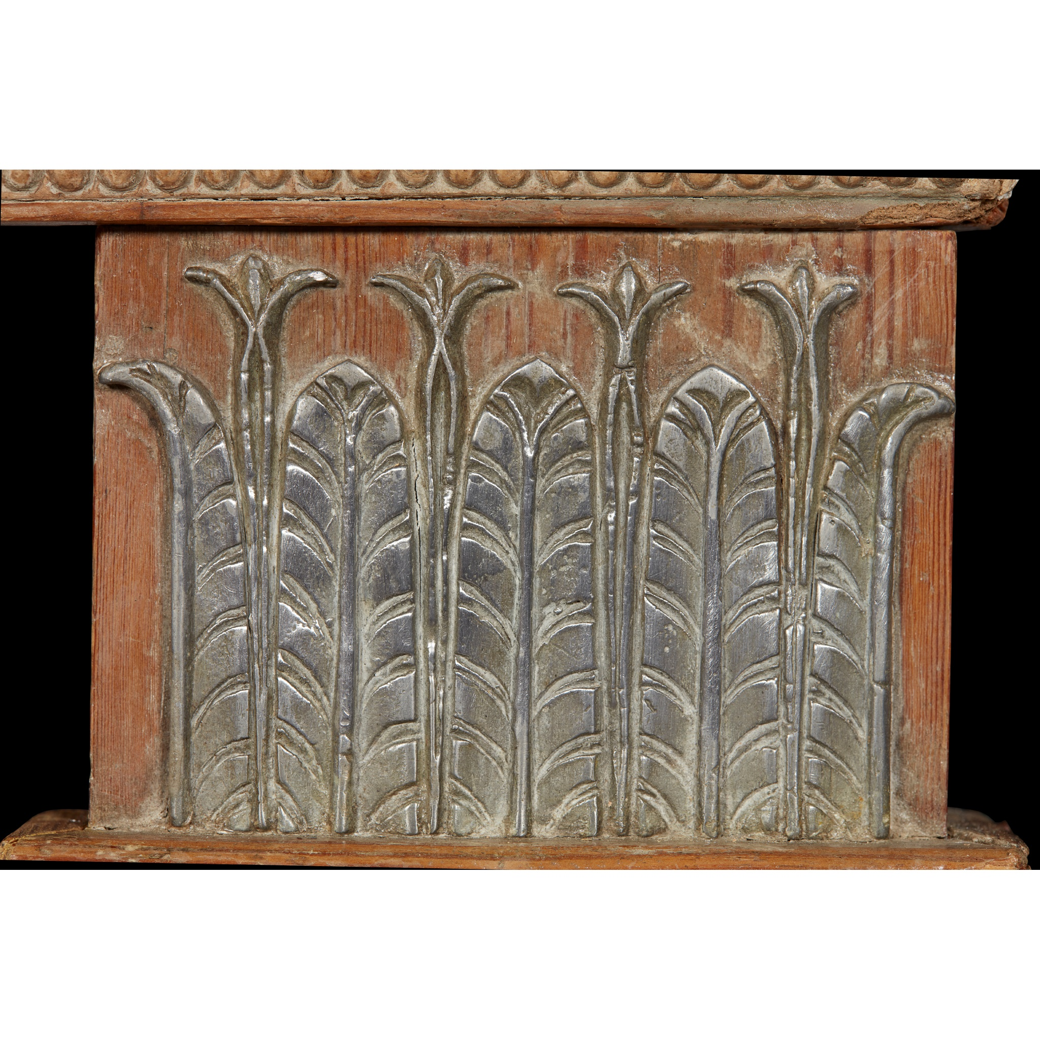 RARE GEORGE III PEWTER AND GESSO MOUNTED FIRE SURROUND 18TH CENTURY - Image 2 of 7