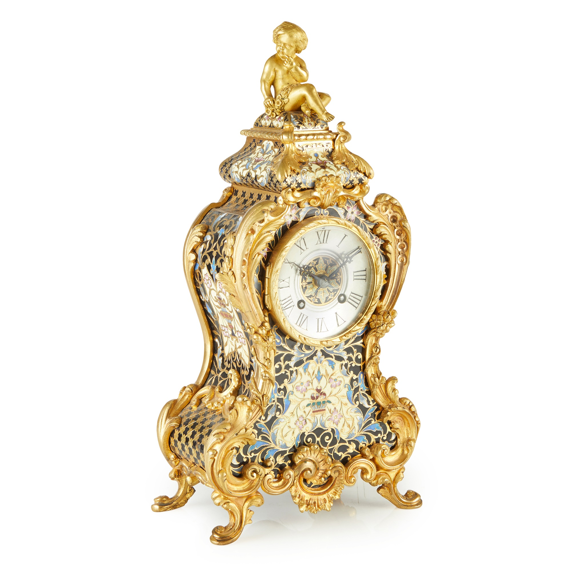 FRENCH GILT BRONZE AND CHAMPLEVÉ ENAMEL MANTLE CLOCK 19TH CENTURY - Image 2 of 2