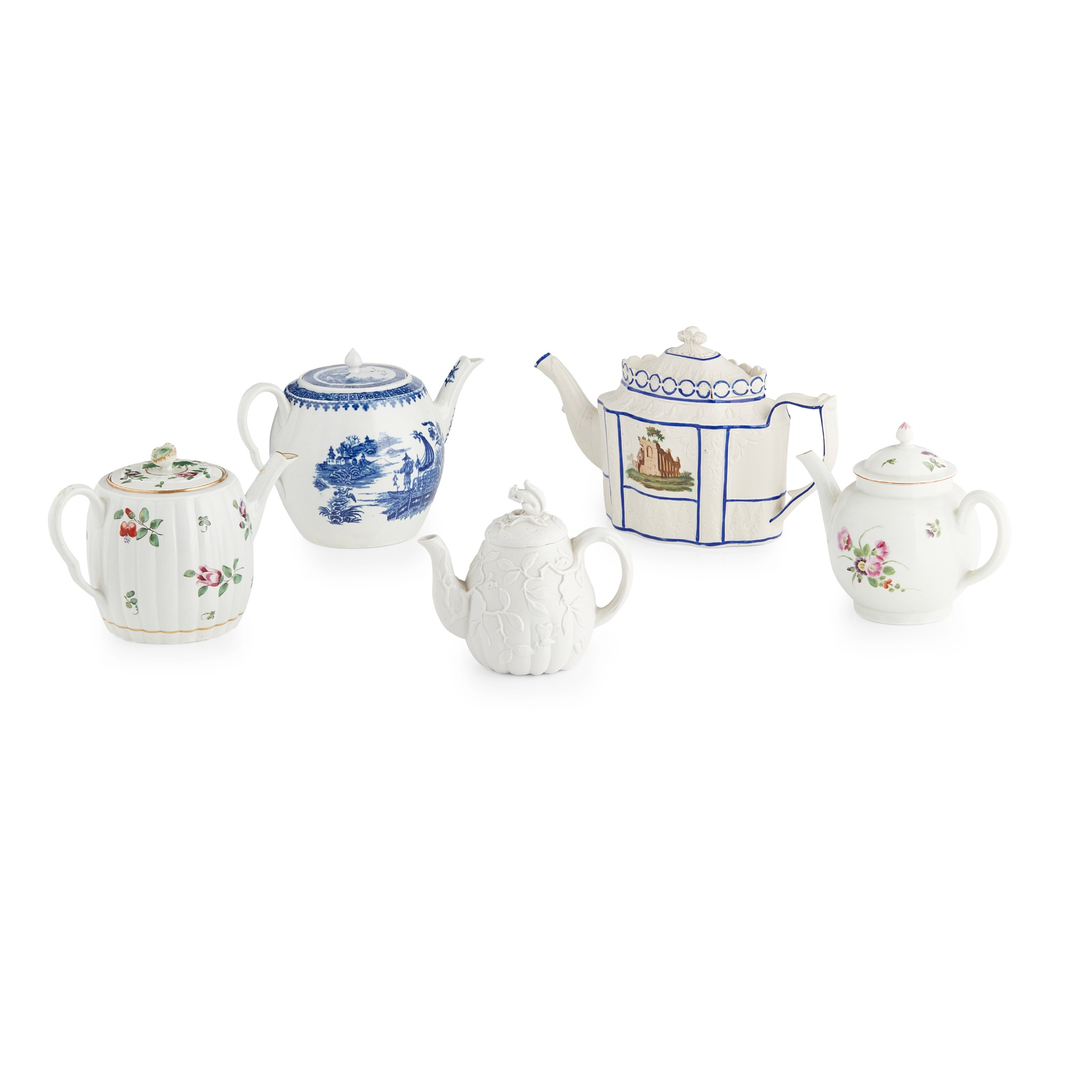 FOUR ENGLISH TEAPOTS LATE 18TH/ EARLY 19TH CENTURY