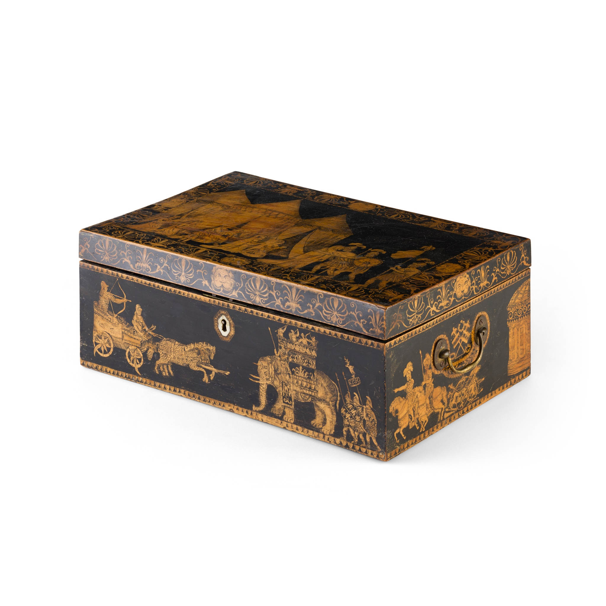 Y REGENCY EBONISED AND PENWORK BOX EARLY 19TH CENTURY