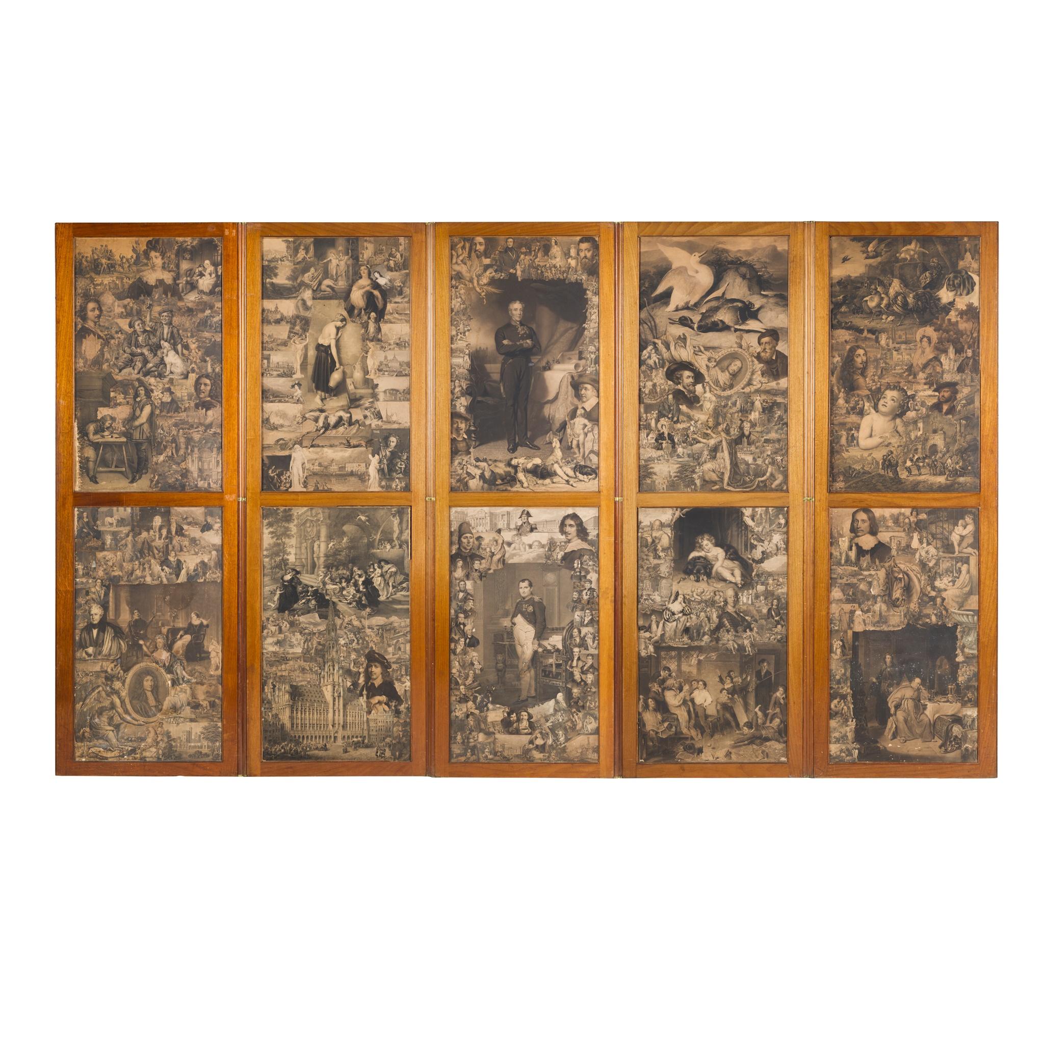 MAHOGANY FRAMED SIX-FOLD SCRAPWORK SCREEN MID 19TH CENTURY - Image 2 of 2