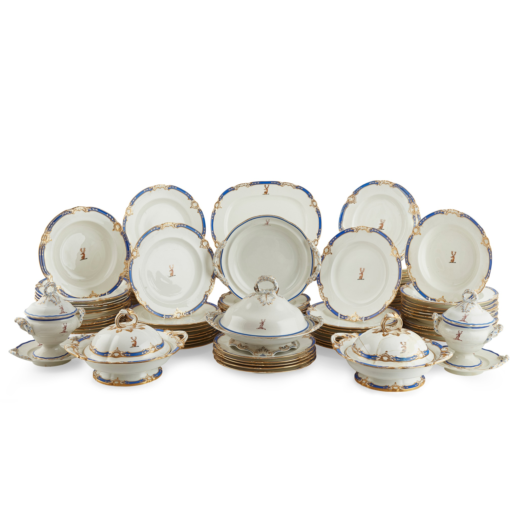 EXTENSIVE ENGLISH PORCELAIN PART DINNER SERVICE, BEARING THE FAMILY CREST FOR LLOYD EARLY 19TH
