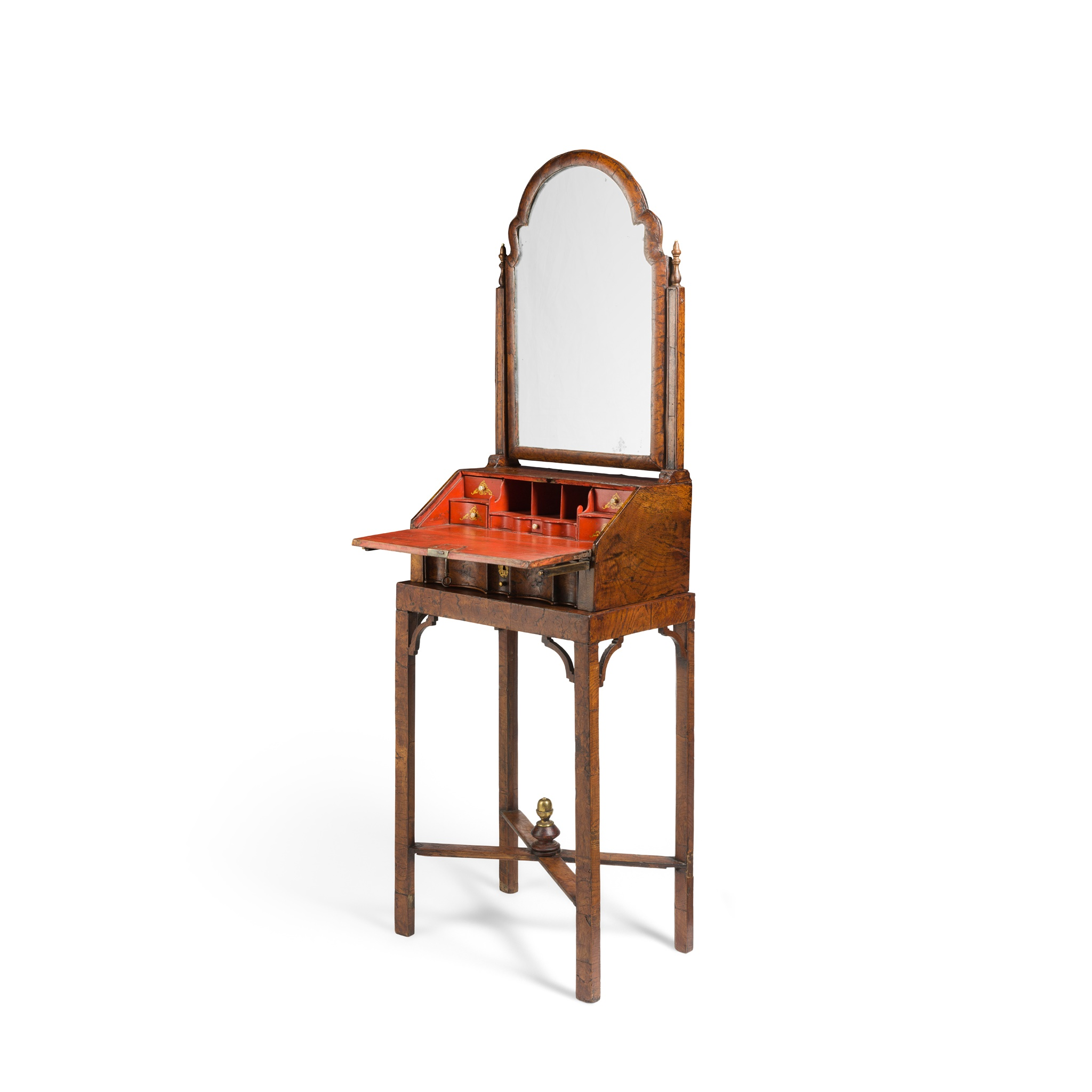 QUEEN ANNE BURR ELM AND RED JAPANNED TOILET MIRROR ON STAND EARLY 17TH CENTURY - Image 2 of 2