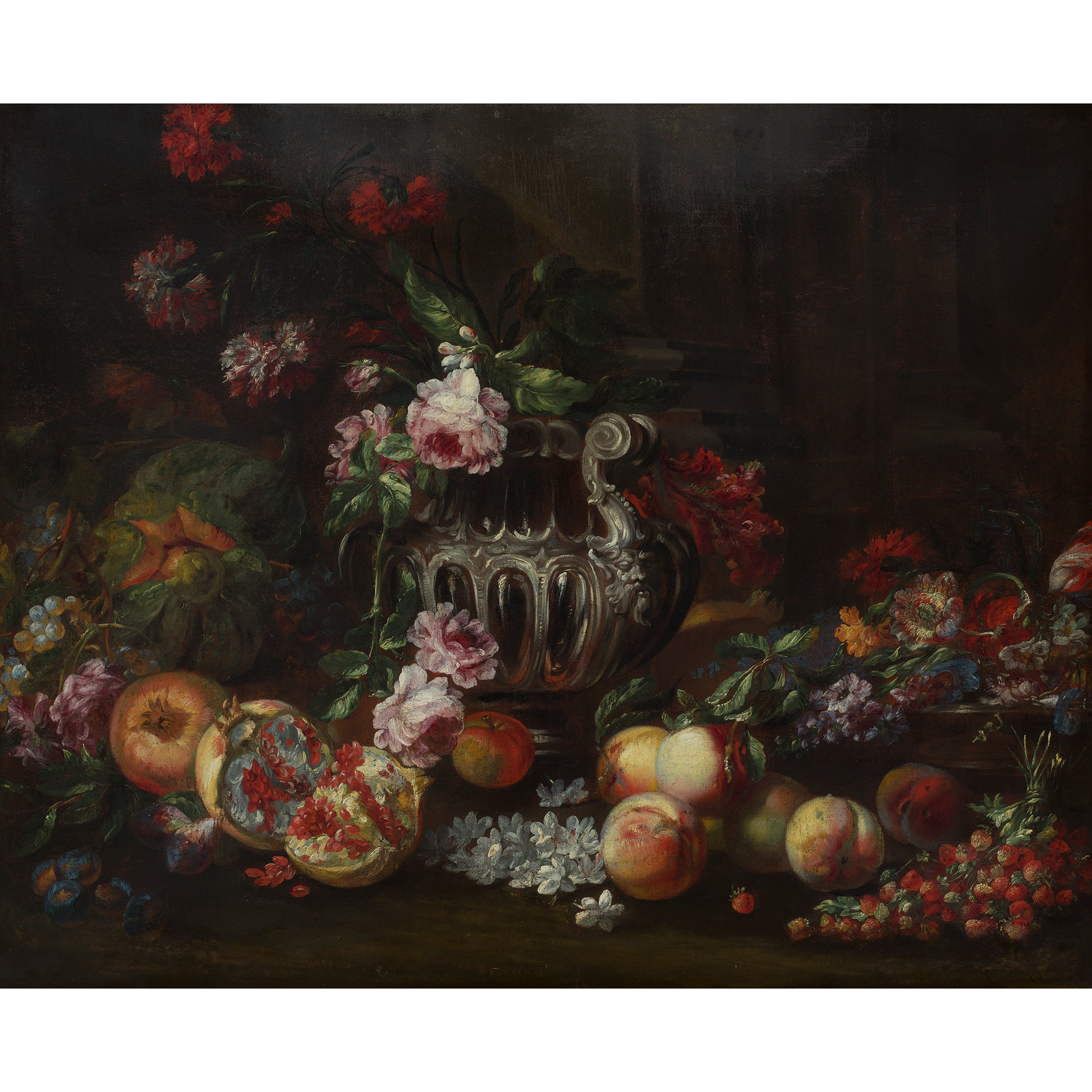 FOLLOWER OF MICHELANGELO DI CAMPIDOGLIO A STILL LIFE OF ASSORTED FRUIT AND FLOWERS WITH SILVER URN