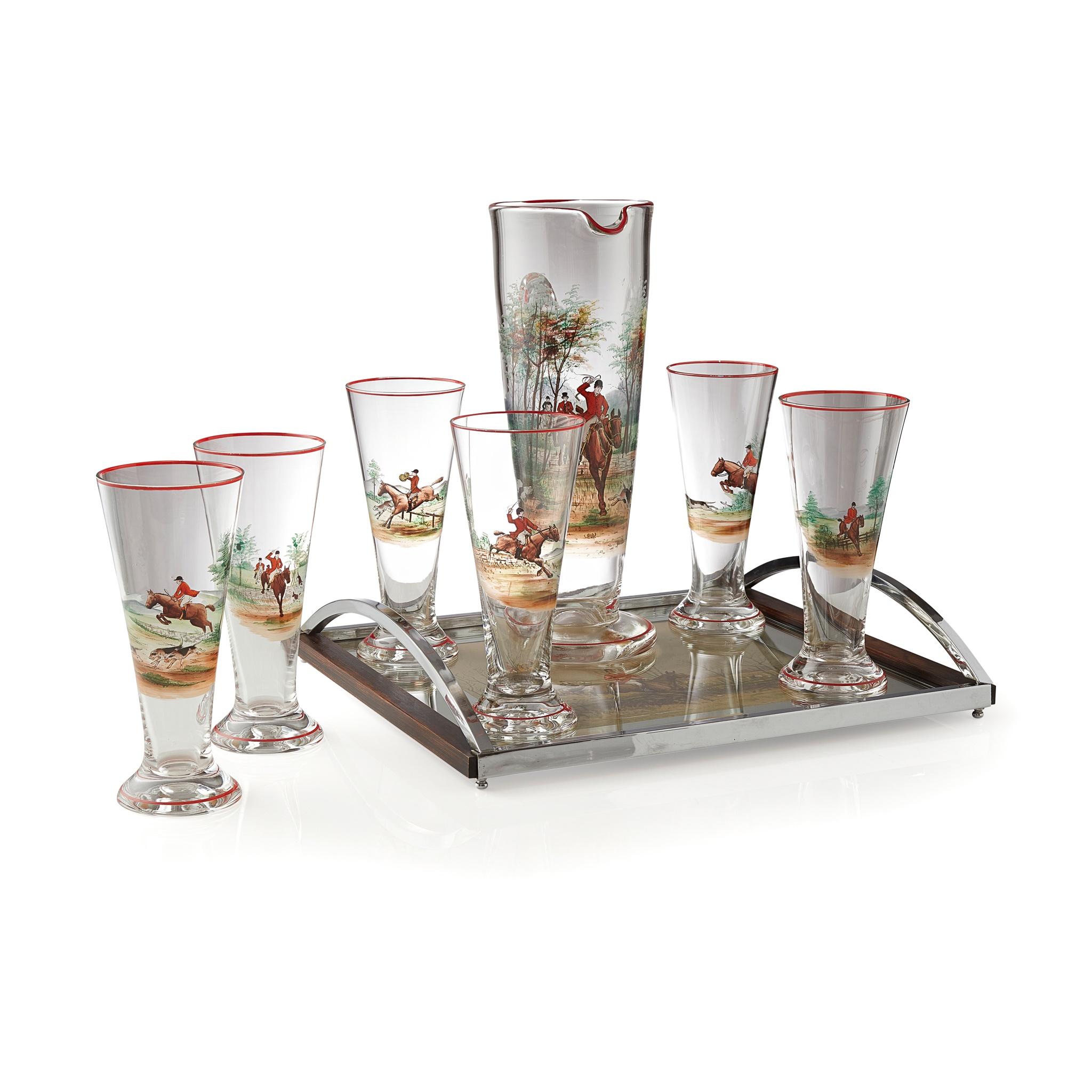 ART DECO ENAMELLED GLASS LEMONADE SET, OF HUNTING INTEREST CIRCA 1930