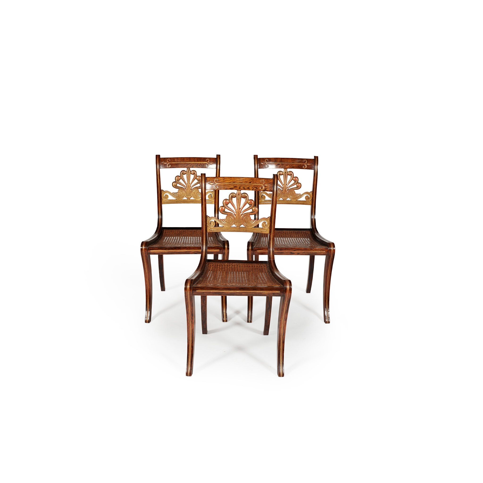 Y SET OF THREE ROSEWOOD GRAIN-PAINTED AND GILT SIDE CHAIRS EARLY 19TH CENTURY - Image 2 of 2