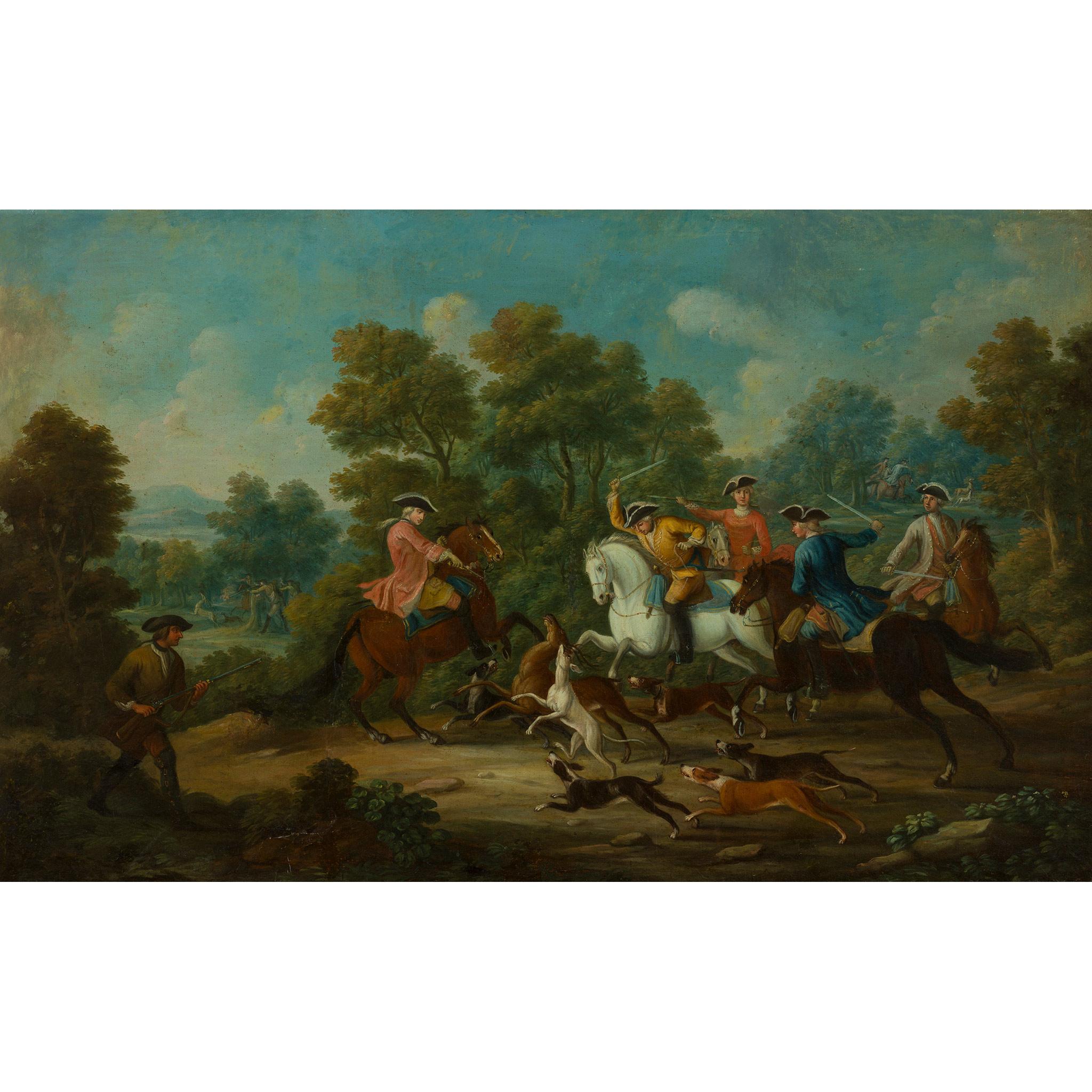18TH CENTURY FRENCH SCHOOL ELEGANT FIGURES BOAR HUNTING