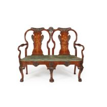 GEORGE I STYLE WALNUT AND MARQUETRY DOUBLE CHAIRBACK SETTEE 19TH CENTURY