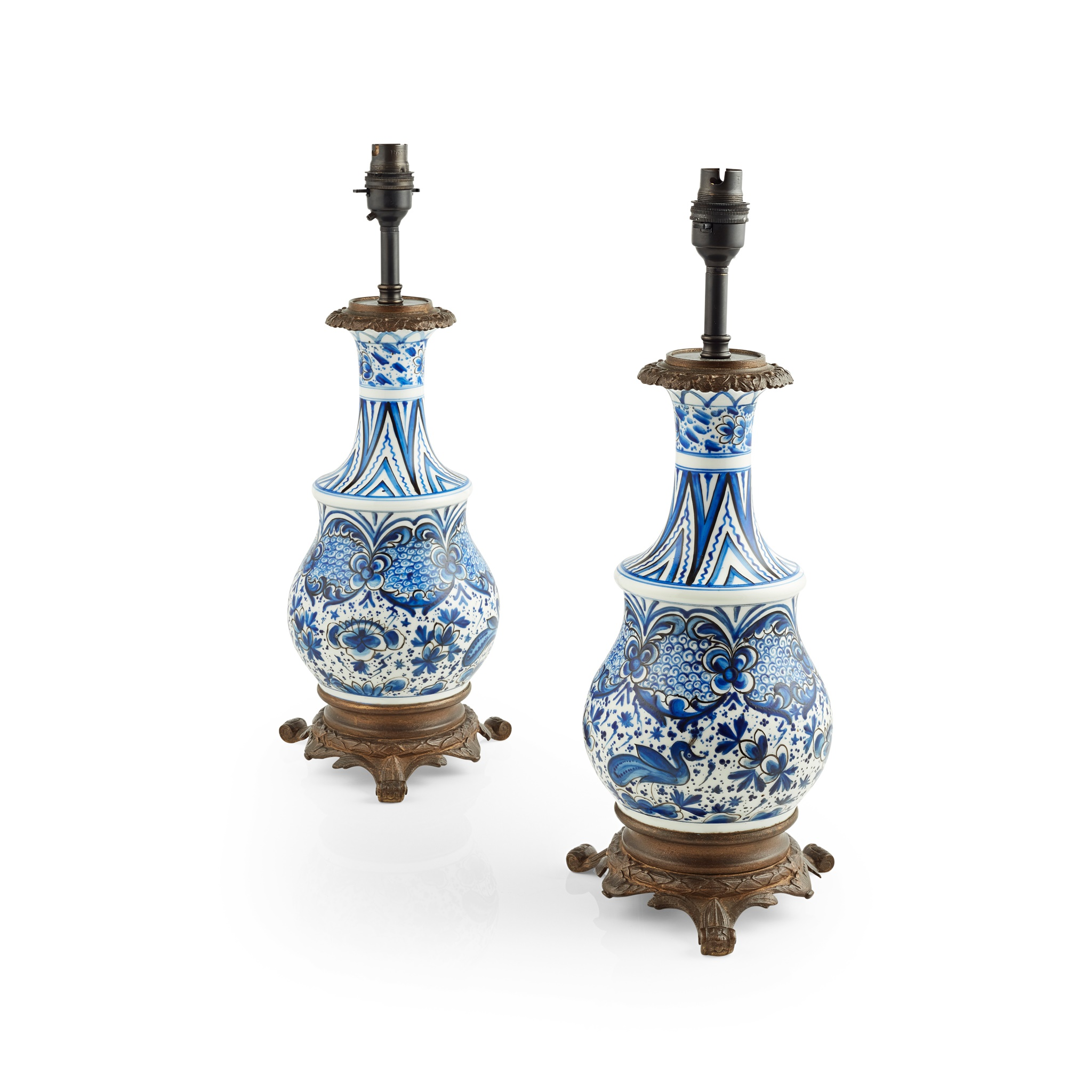 PAIR OF IZNIK TYPE PORCELAIN AND BRONZE BOTTLE VASE LAMPS 19TH/ EARLY 20TH CENTURY - Image 2 of 2