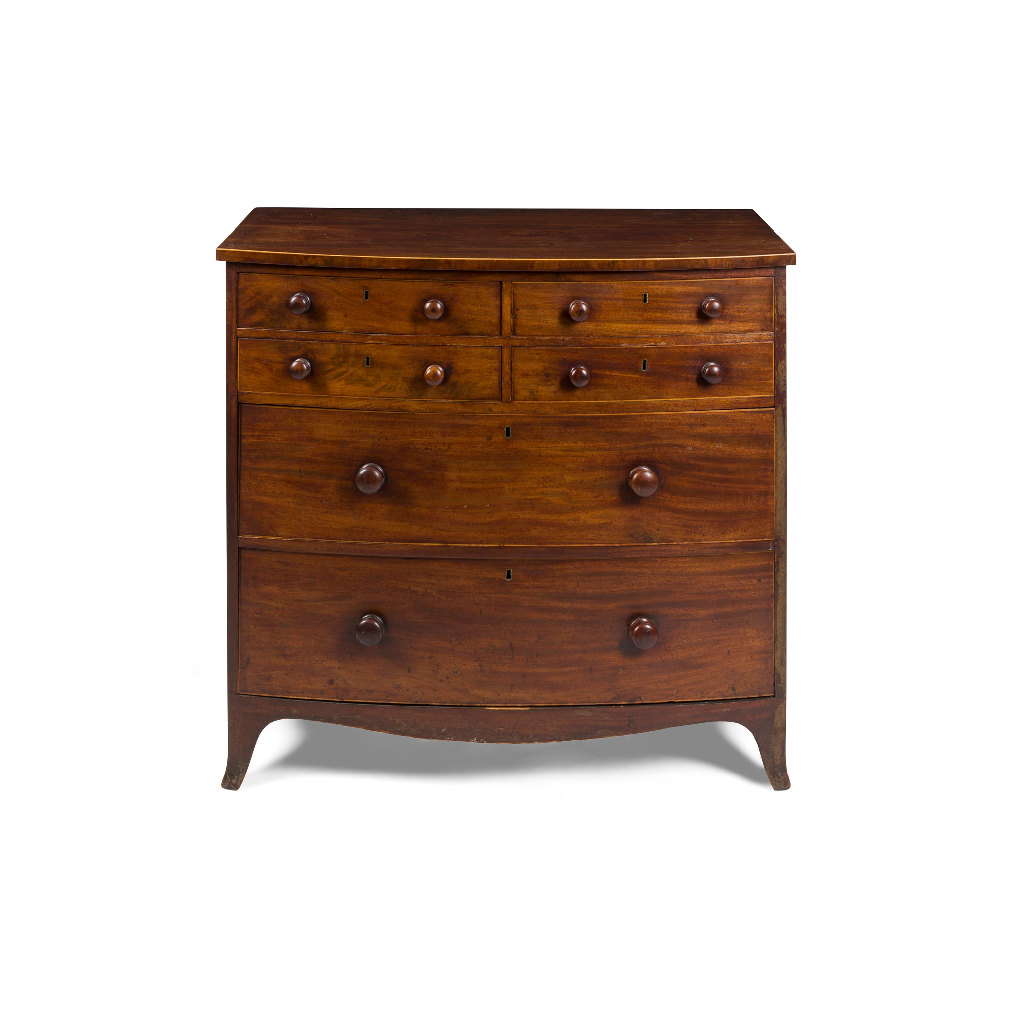 LATE GEORGE III MAHOGANY BOWFRONT CHEST OF DRAWERS EARLY 19TH CENTURY