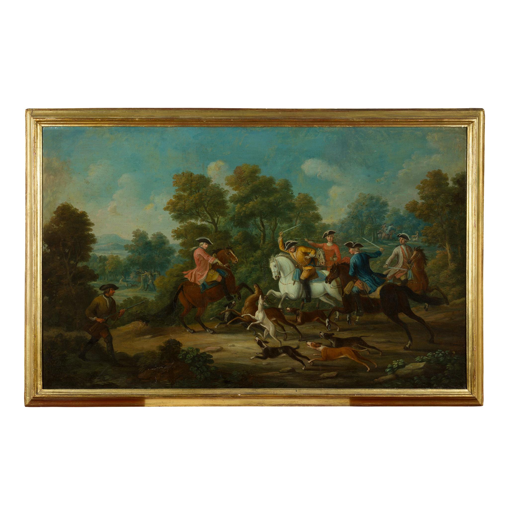 18TH CENTURY FRENCH SCHOOL ELEGANT FIGURES BOAR HUNTING - Image 8 of 8