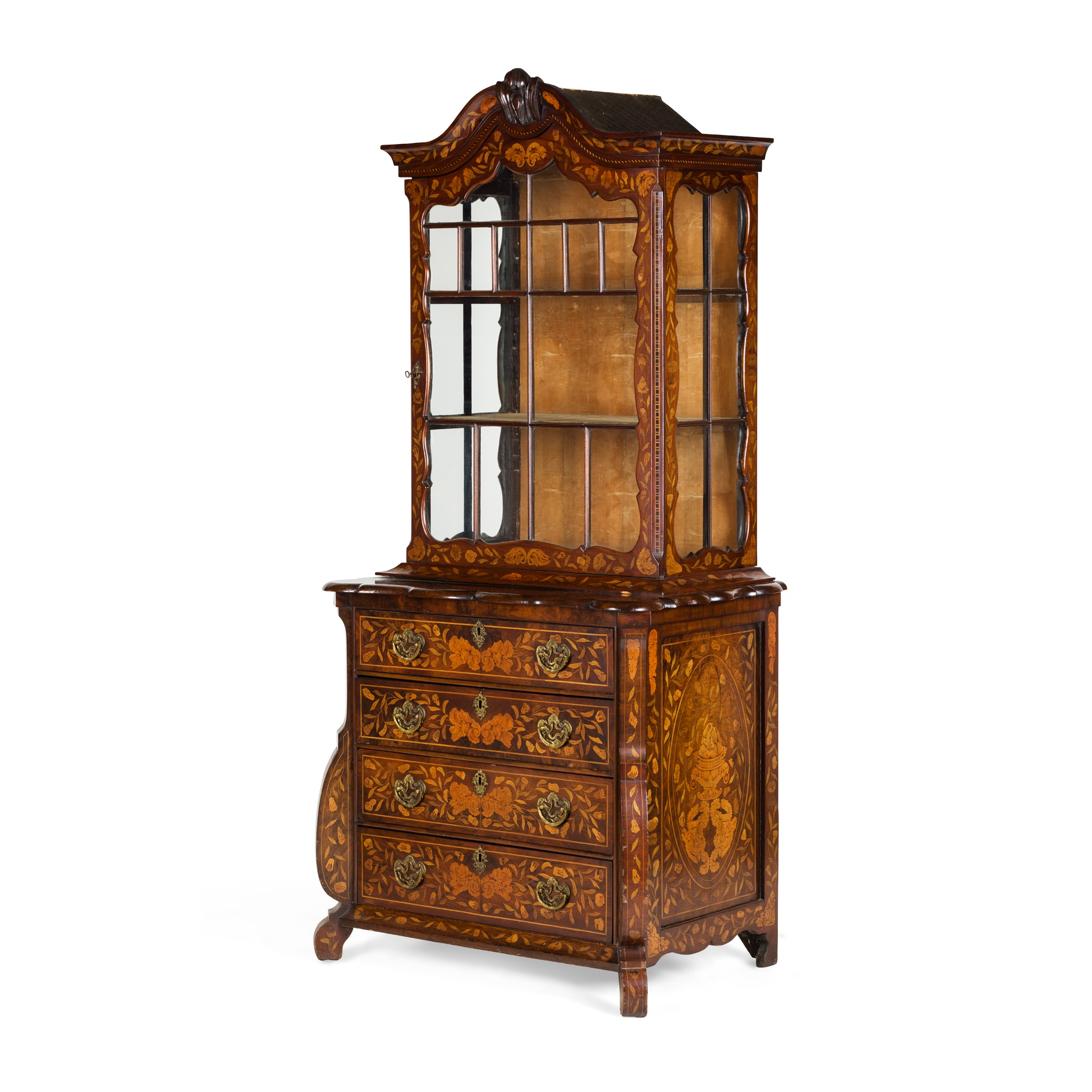 DUTCH WALNUT AND MARQUETRY DISPLAY CABINET-ON-CHEST EARLY 19TH CENTURY - Image 2 of 2