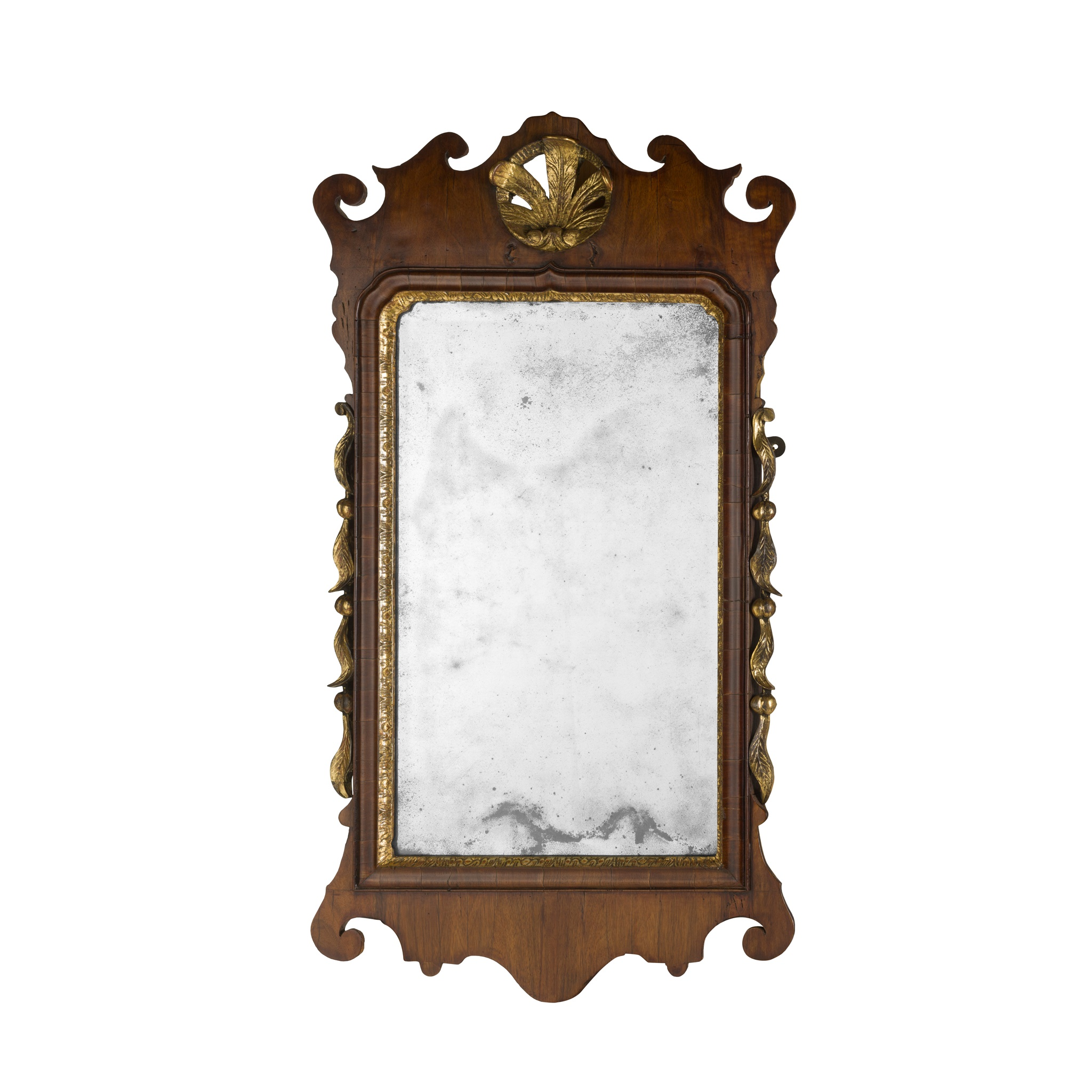 GEORGE I WALNUT AND GILTWOOD MIRROR EARLY 18TH CENTURY