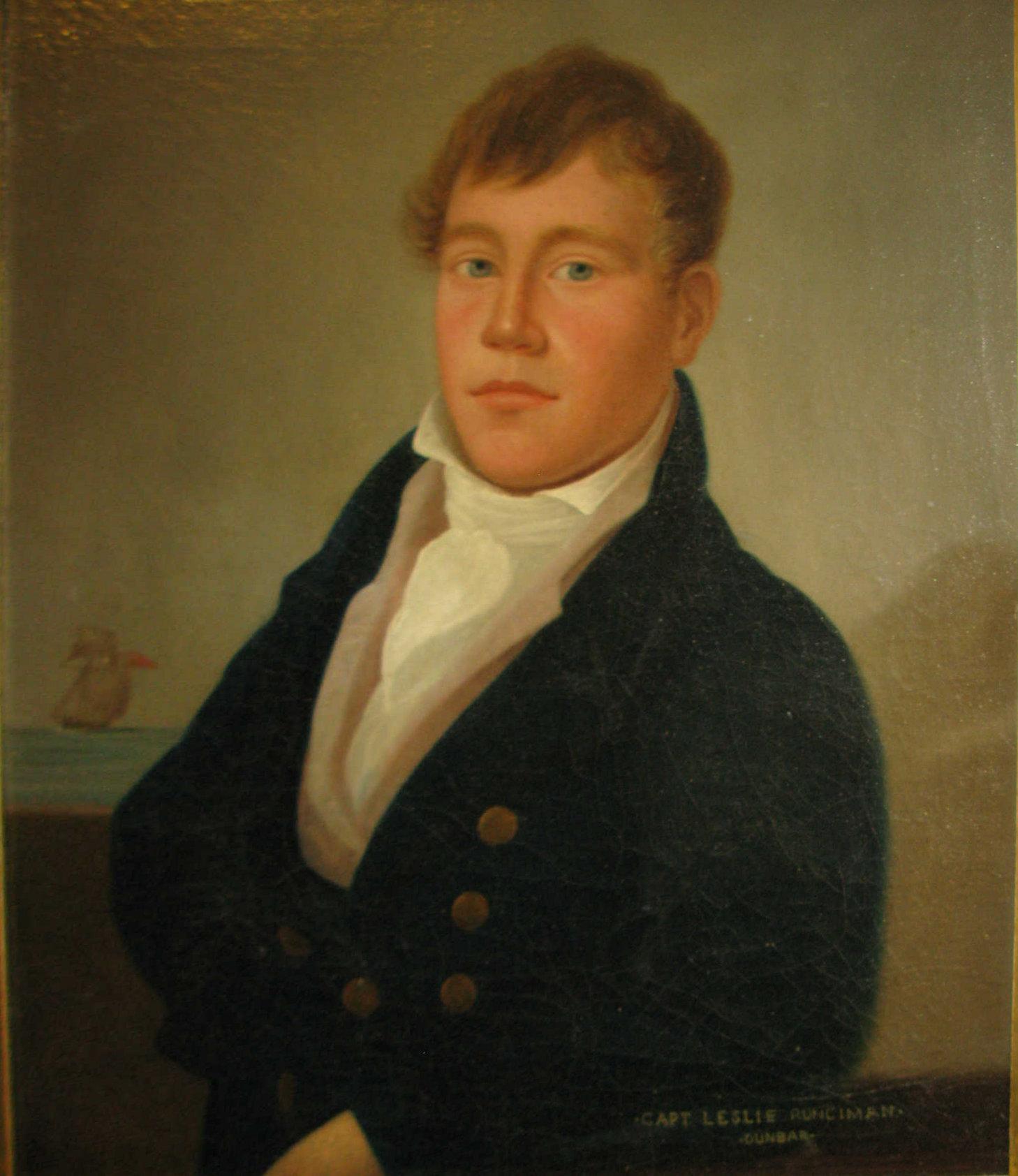 19TH CENTURY SCOTTISH SCHOOL HALF LENGTH PORTRAIT OF CAPTAIN LESLIE RUNCIMAN