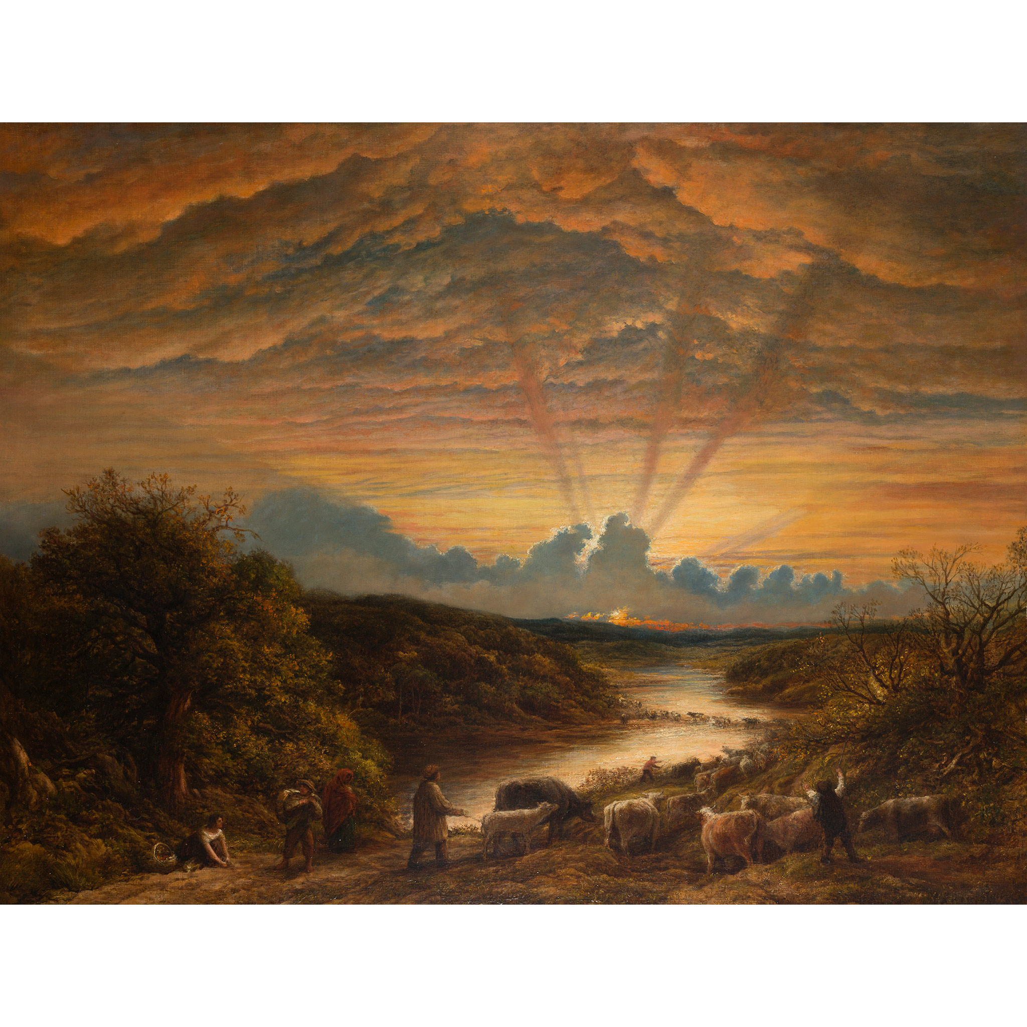 JOHN LINNELL (BRITISH 1792-1882) THE FORD - Image 2 of 7
