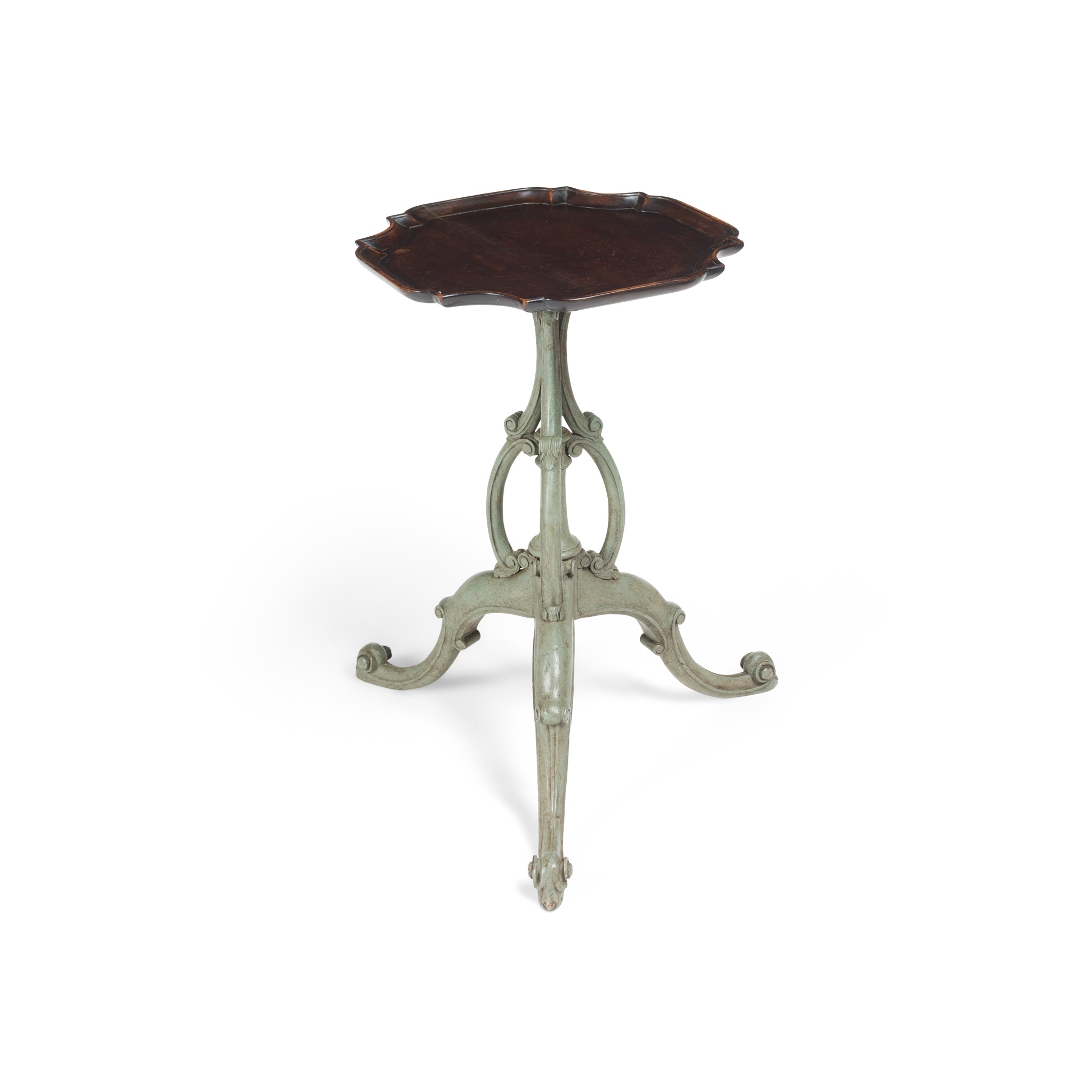 GEORGIAN STYLE MAHOGANY AND PAINTED WINE TABLE 19TH CENTURY INCORPORATING SOME EARLY ELEMENTS