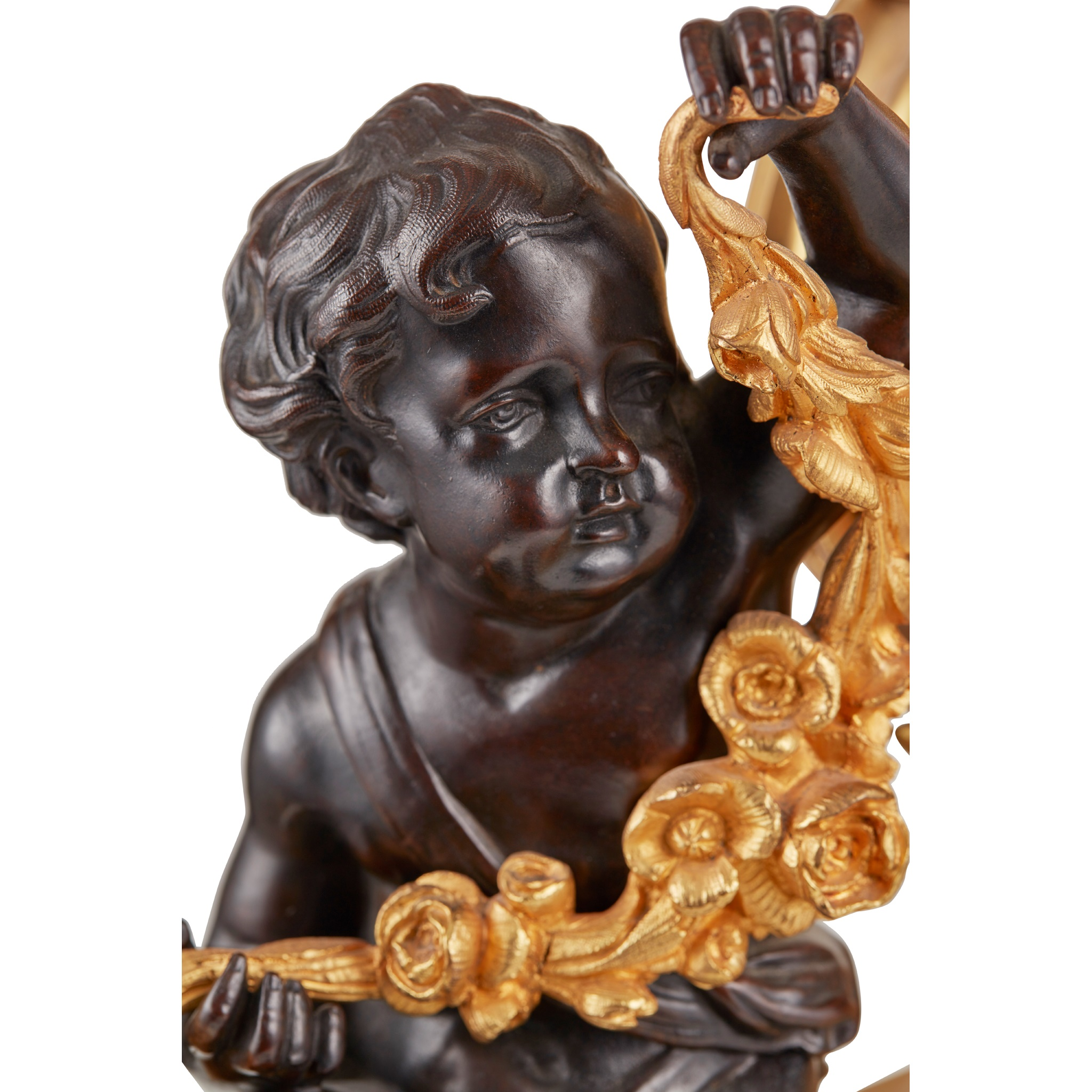 LARGE FRENCH GILT AND PATINATED BRONZE MANTEL CLOCK 19TH CENTURY - Image 3 of 3