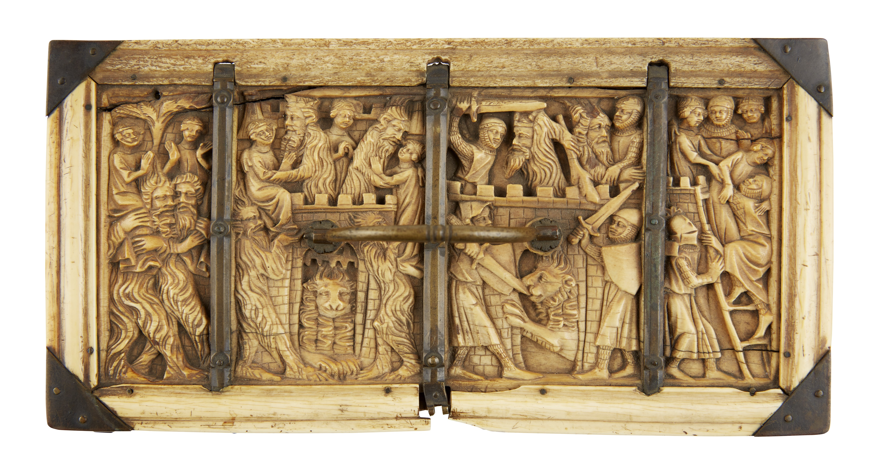 Y ◆ RARE AND IMPORTANT FRENCH GOTHIC IVORY COMPOSITE CASKET CIRCA 1330 - Image 6 of 8