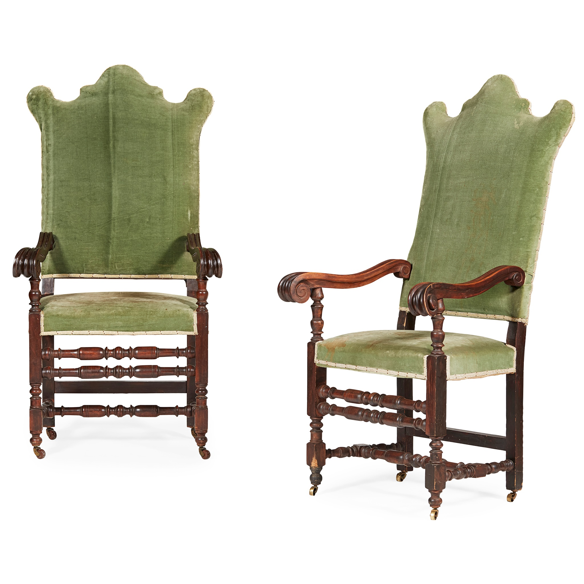 PAIR OF WILLIAM AND MARY STYLE WALNUT ARMCHAIRS 19TH CENTURY