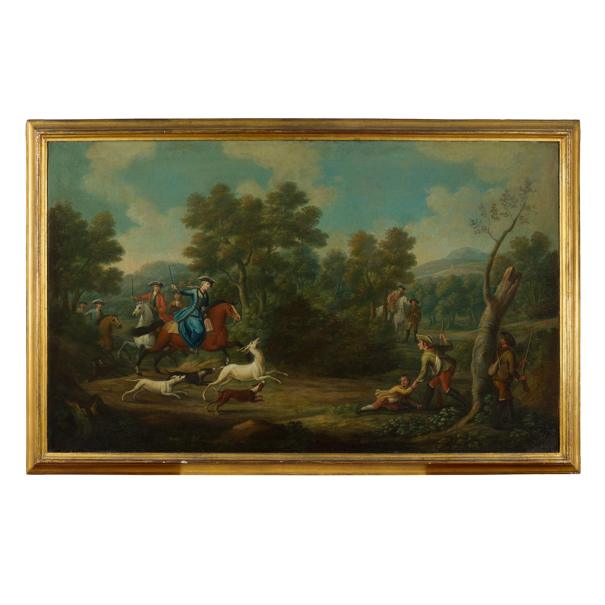 18TH CENTURY FRENCH SCHOOL ELEGANT FIGURES BOAR HUNTING - Image 7 of 8