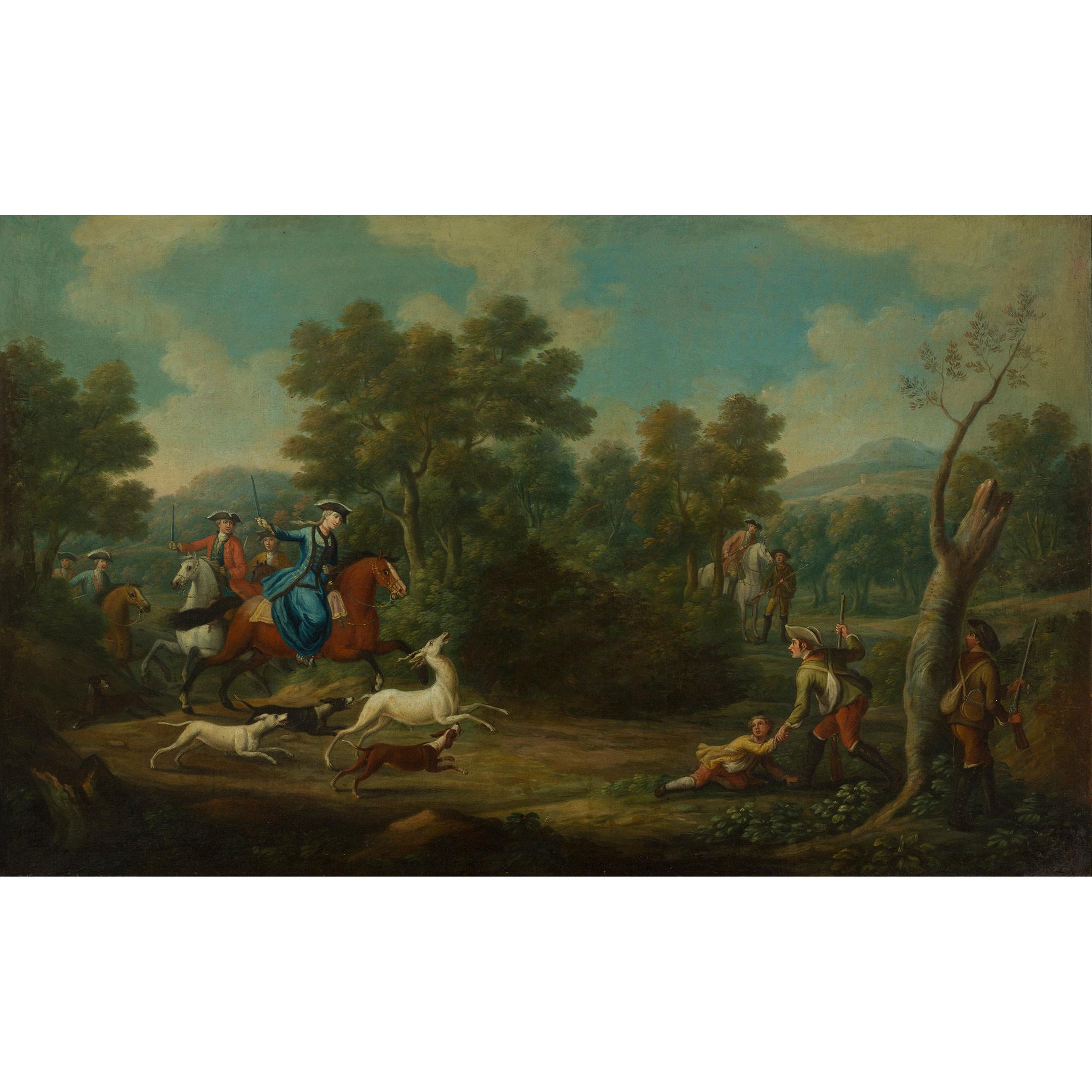 18TH CENTURY FRENCH SCHOOL ELEGANT FIGURES BOAR HUNTING - Image 4 of 8